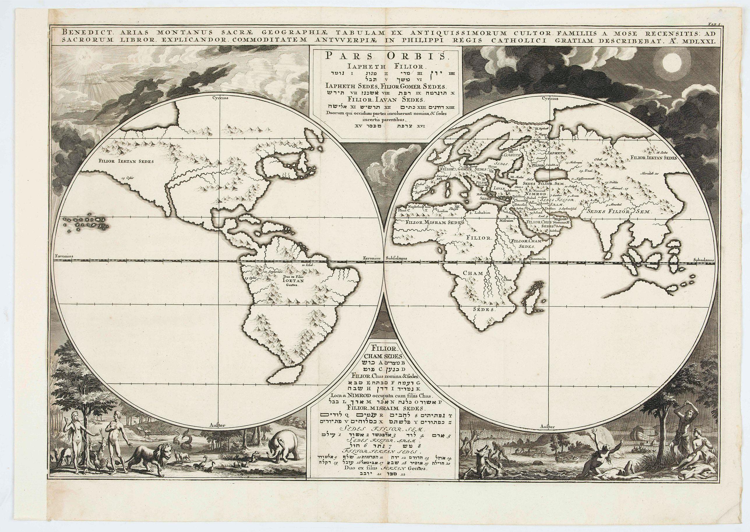 JANSSONIUS VAN WAESBERGHE, J. - Pars Orbis Japheth Filior... Benedict Arias Montanus sacrae geographia Tabulam.