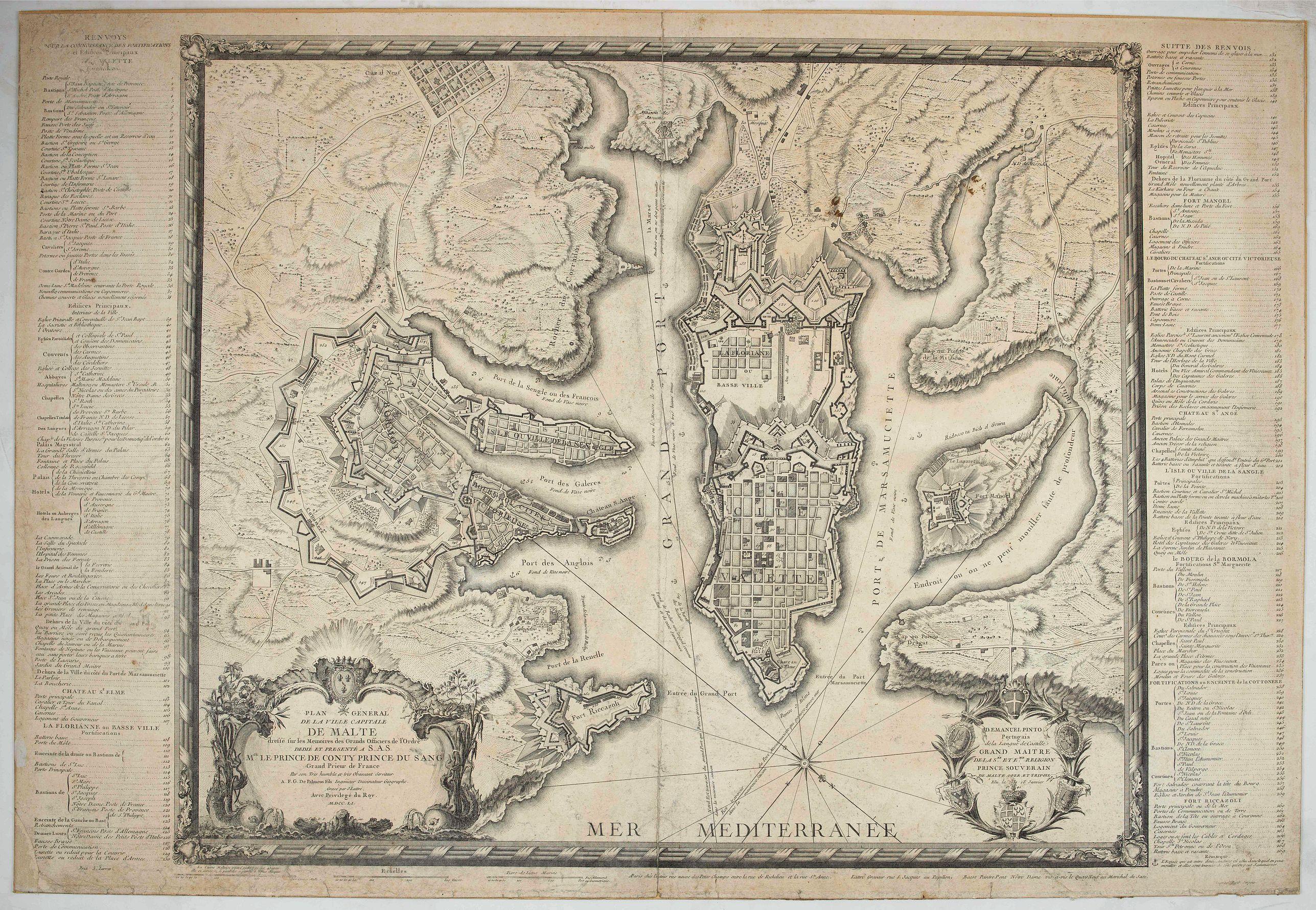 LATTRÉ, J. -  Plan général de la ville capitale de Malte dressé sur les memoires des grands officiers de l'Ordre, dédiée et présentée à S.A.S. Mgr le prince de Conty, prince du sang, grand prieur de France. . .