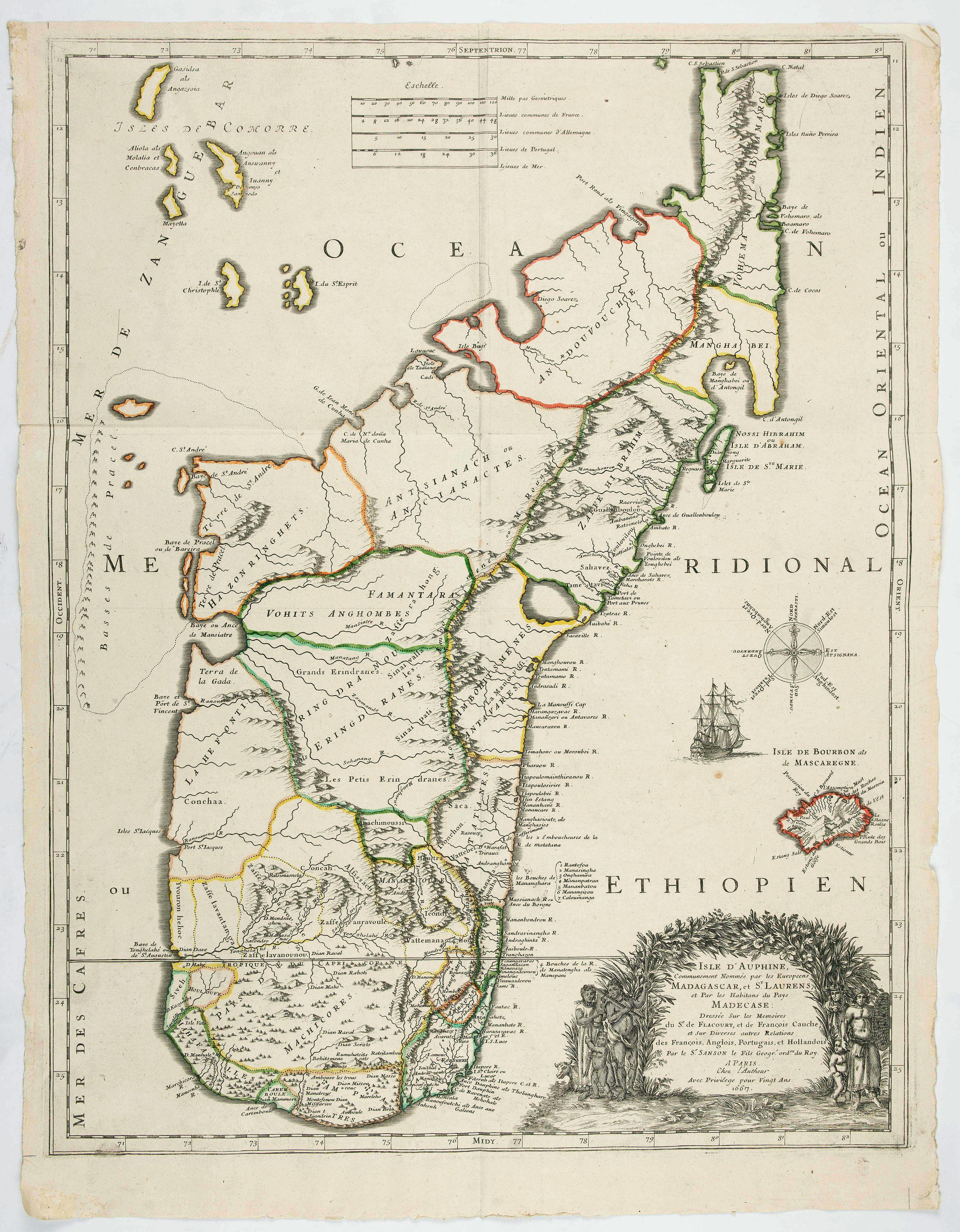 SANSON, N. / MARIETTE, P. -  Isle D'Auphine, communement Nommée pae les Europeens Madagascar. . .