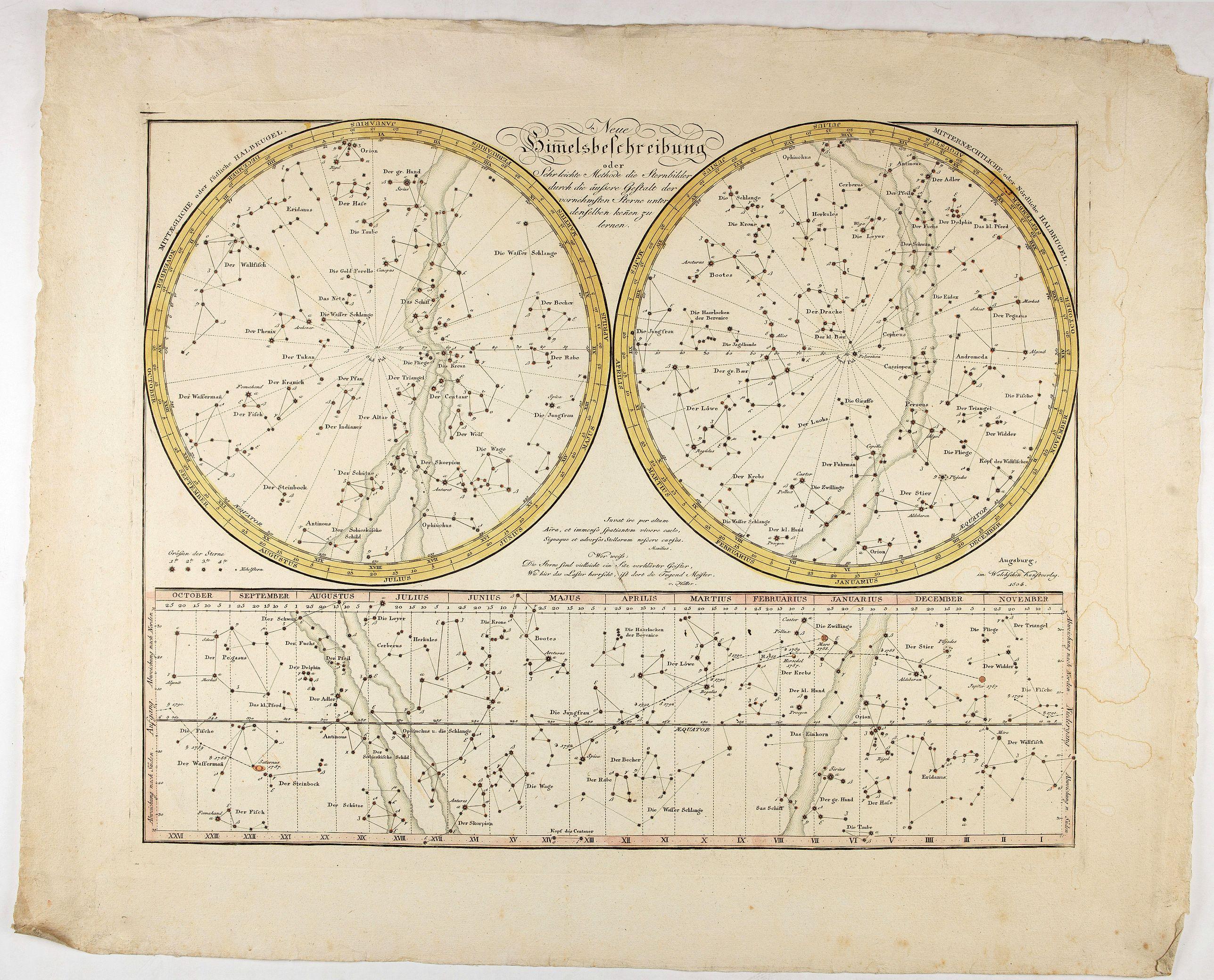 WALCH, J. - Neue Himelsbechreibung oder Sehrleichte Methode die Sternbilder . . .