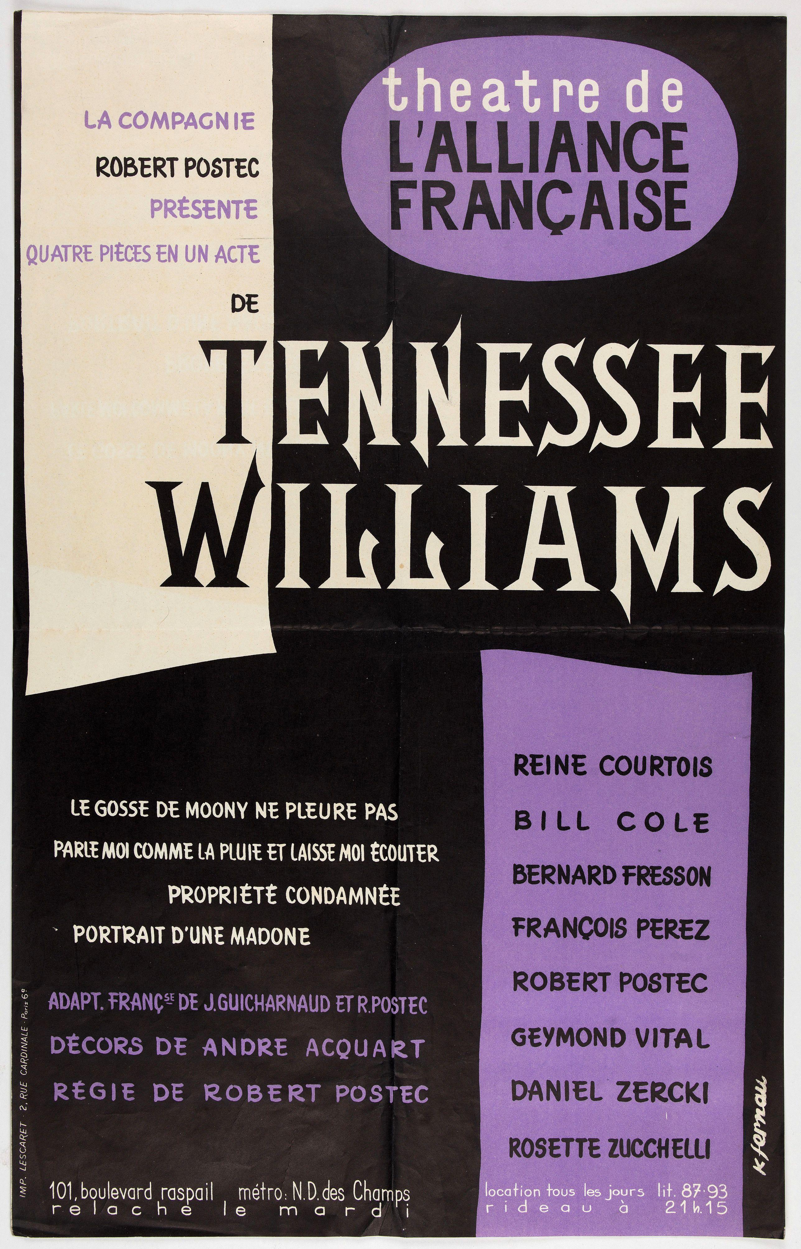 THEATRE DE L'ALLIANCE FRANCAISE -  Spectacle Tennessee Williams composé de quatre pièces en 1 acte.