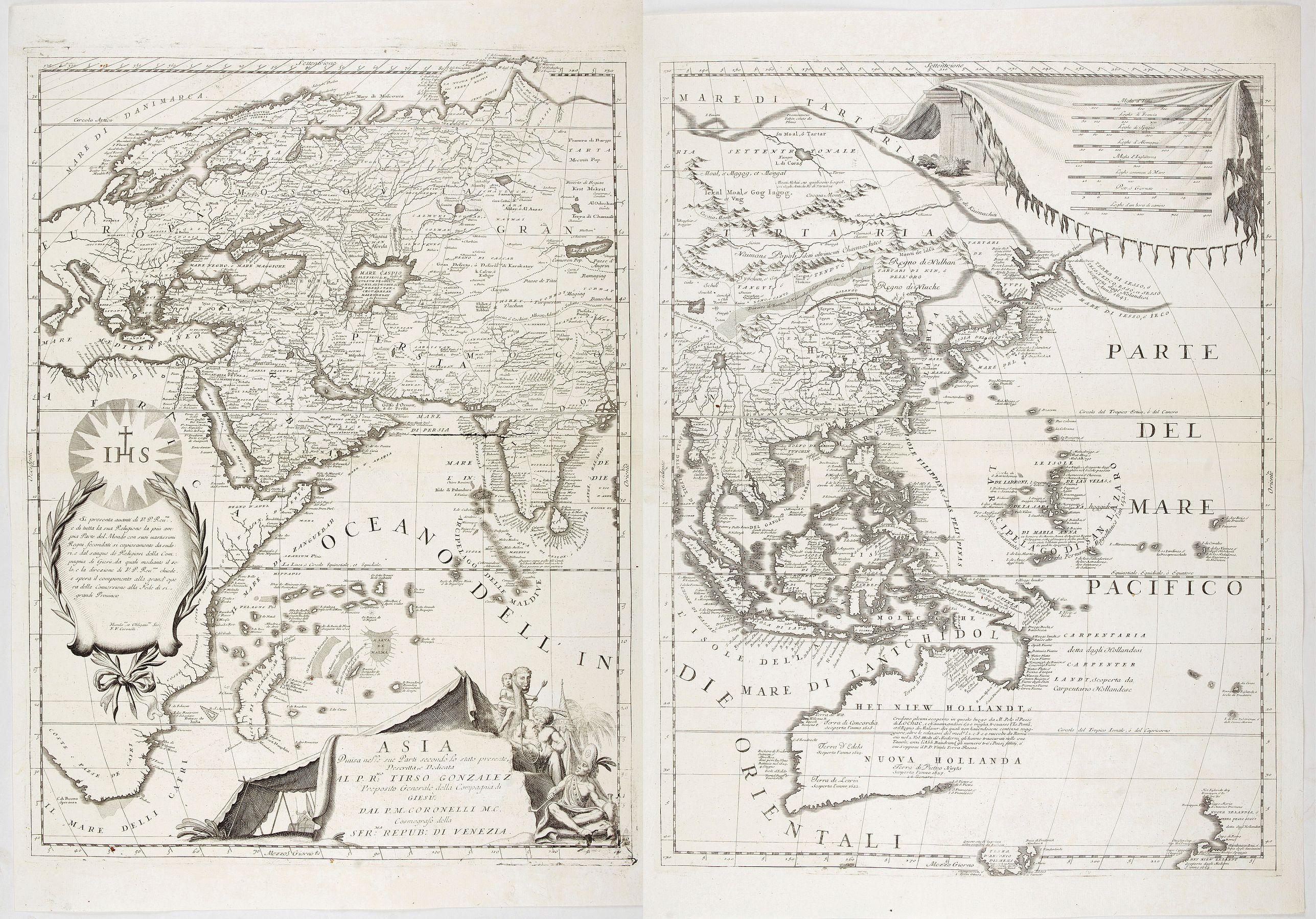 CORONELLI, V. M. -  Asia Divisa nelle sue Parti secondo lo stato presente Descritta, e Dedicata.. Dal P.M. Coronelli.
