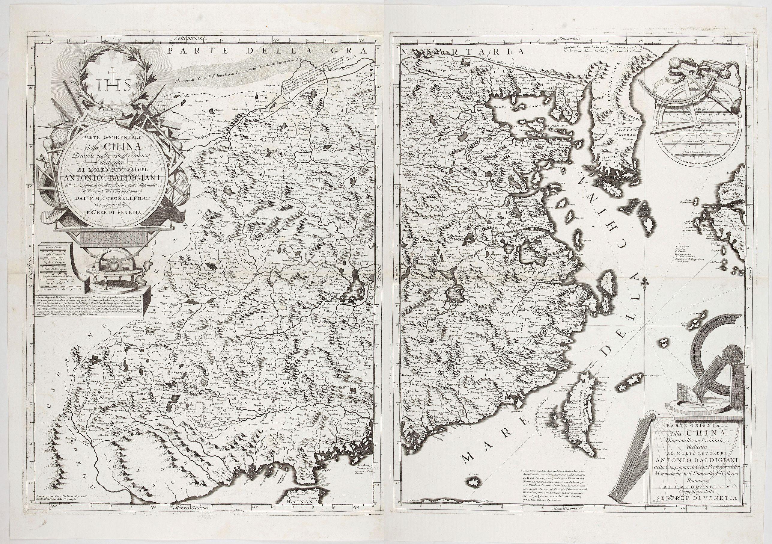 CORONELLI, V. M. -  Parte orientale della China.. / Parte occidentale della China (2 sheets)