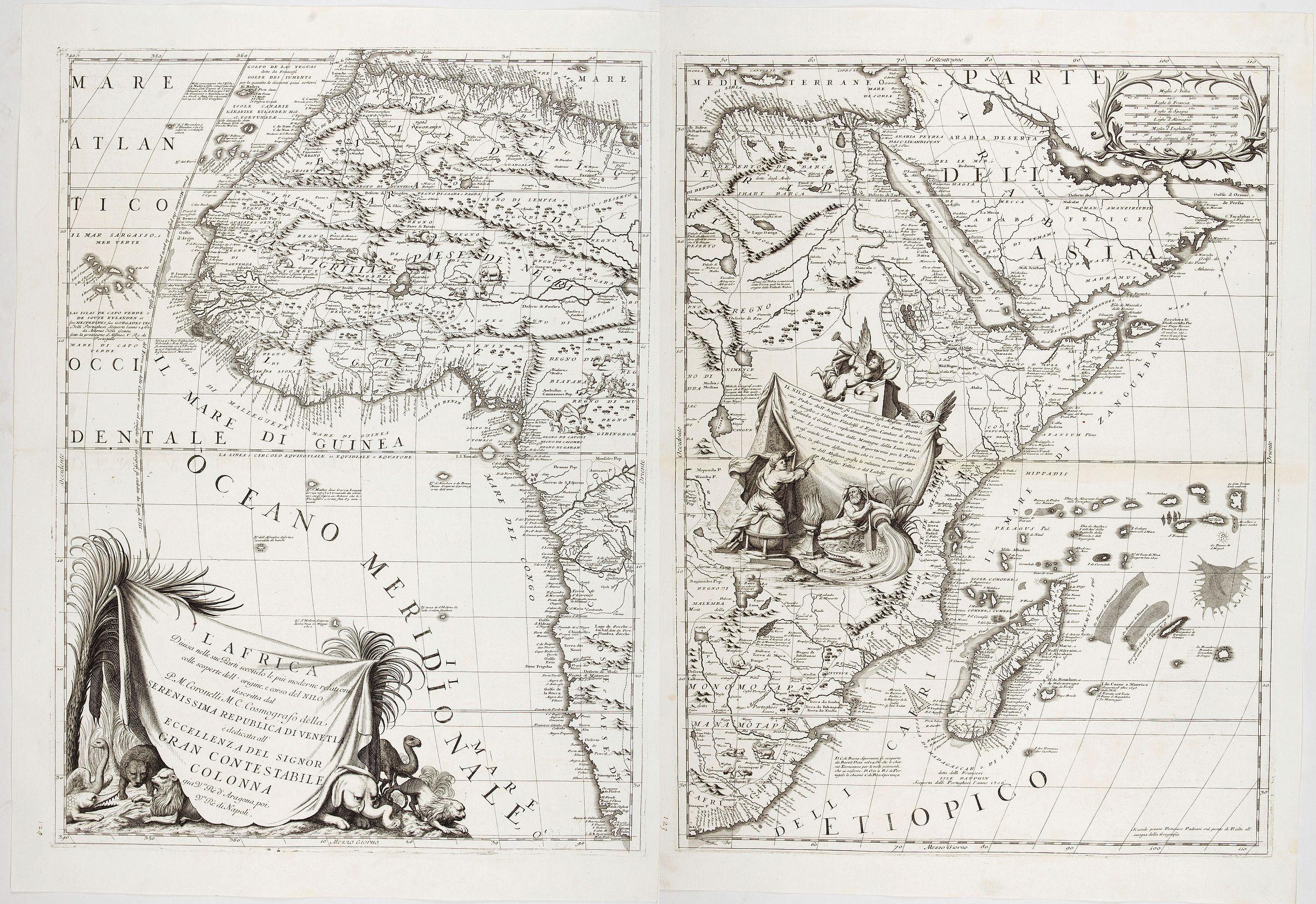 CORONELLI, V. M. -  L'Africa divisa nelle sue Parti secondo le pui moderne . . .
