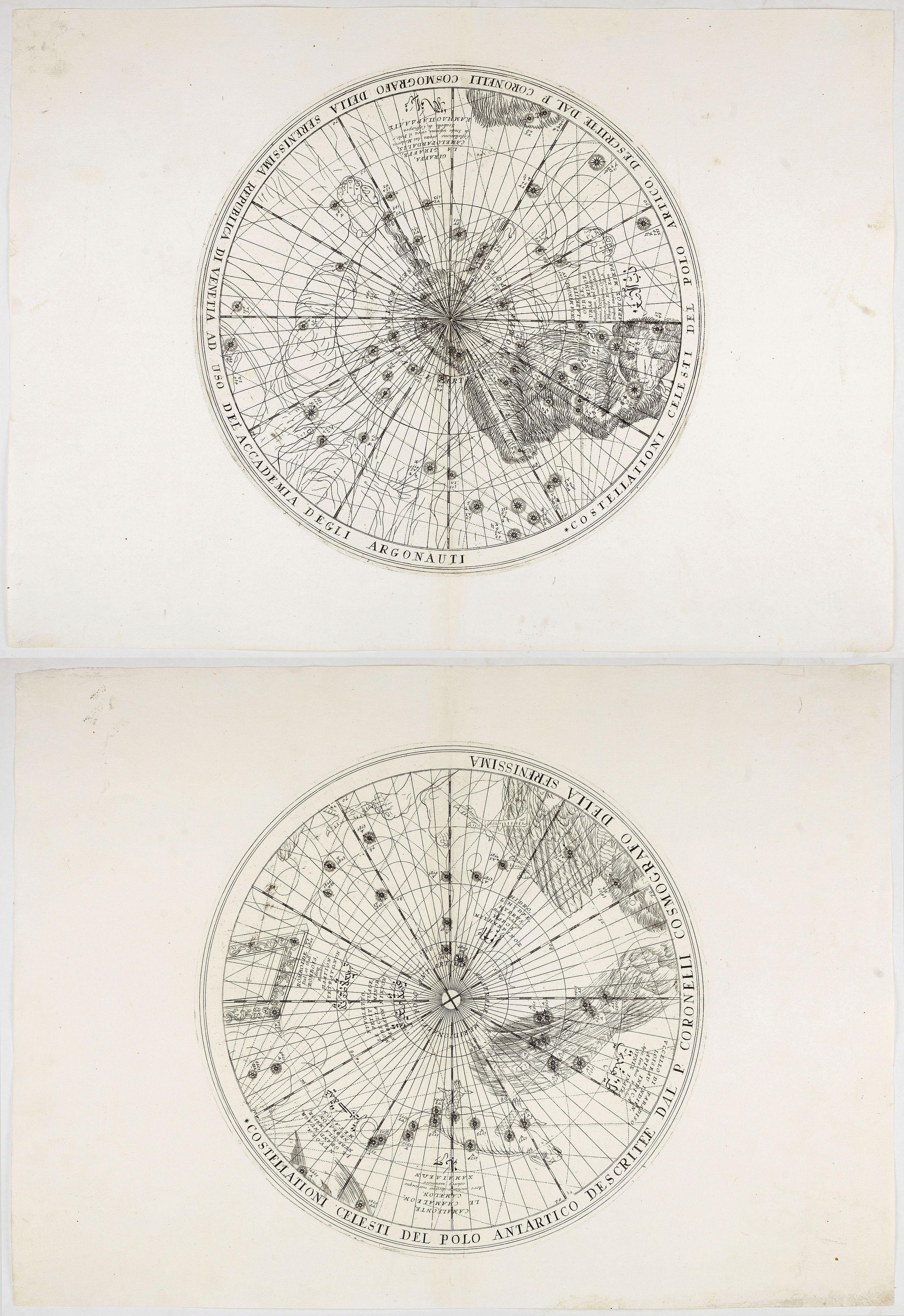 CORONELLI, V. -  [Set of two sheets] Costellationi celesti del polo Antartico …. Costellationi celesti del polo Artico …