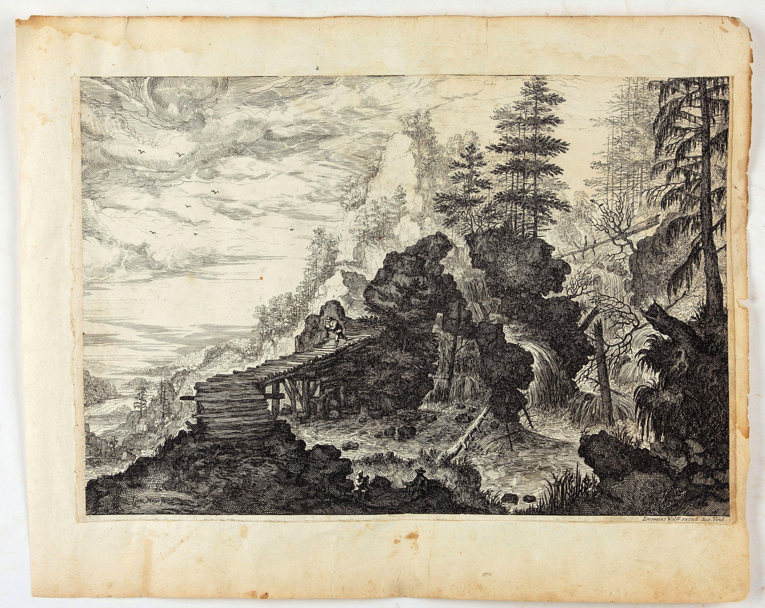 MAIOR, I. -  Landschaft mit Wasserfall rechts eines Felsblocks.