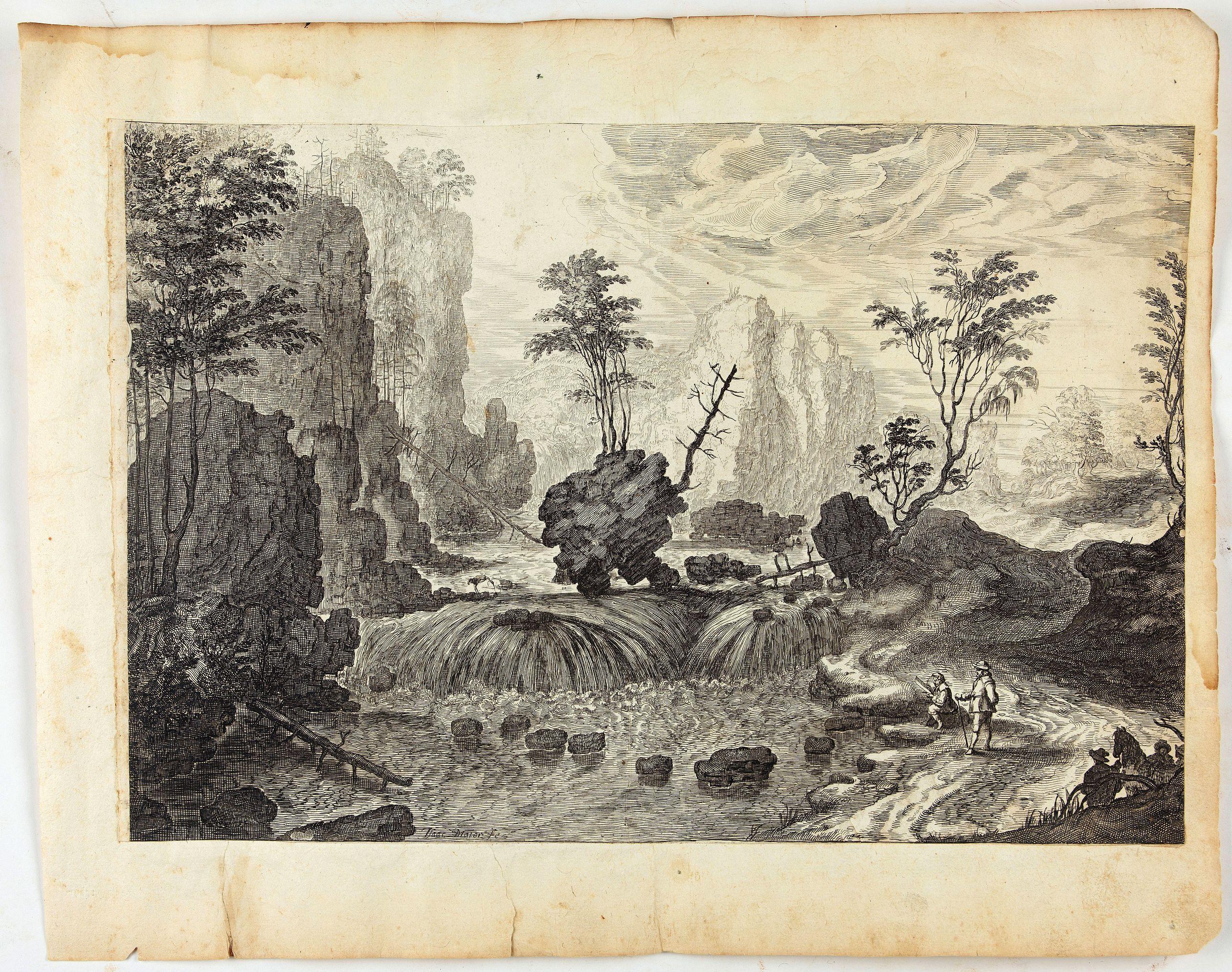 MAIOR, I. -  Landschaft mit Wasserfall und Schublade.