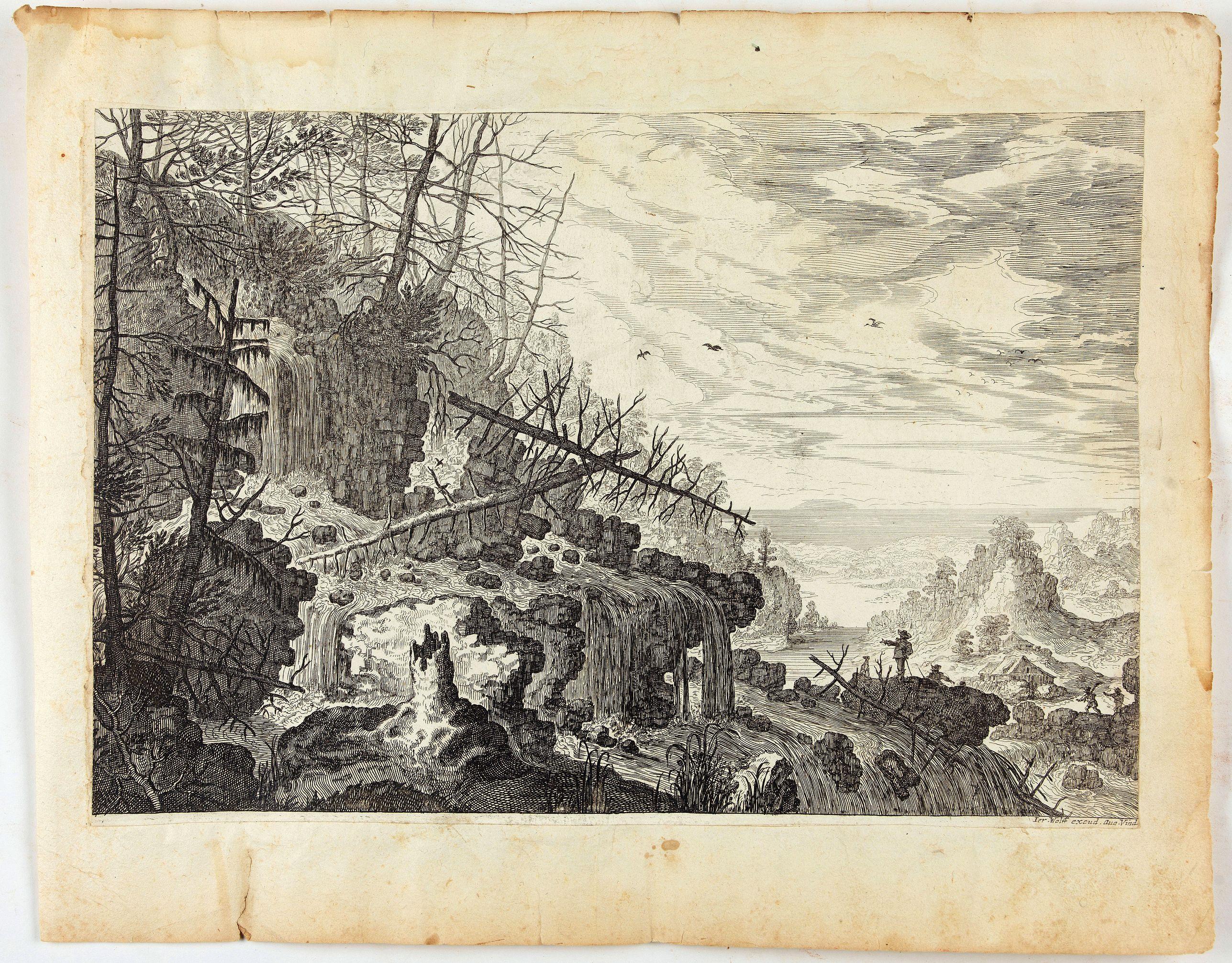 MAIOR, I. -  Naturlandschaft mit Wasserfällen und einem Haus in der Ferne mit vier Männern.