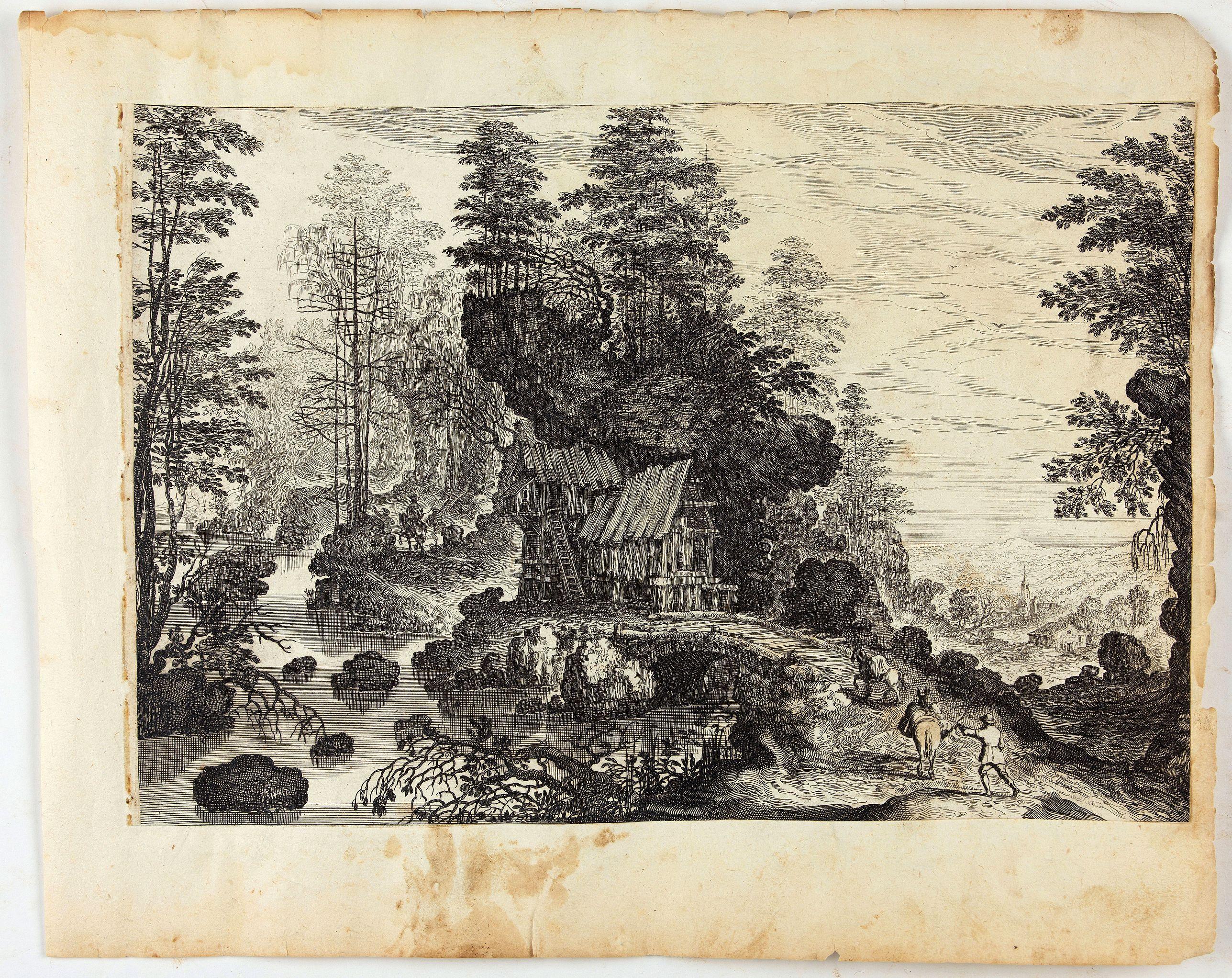 MAIOR, I. -  Blick auf eine Waldlandschaft mit reisenden Männern und einem Dorf in der Ferne.