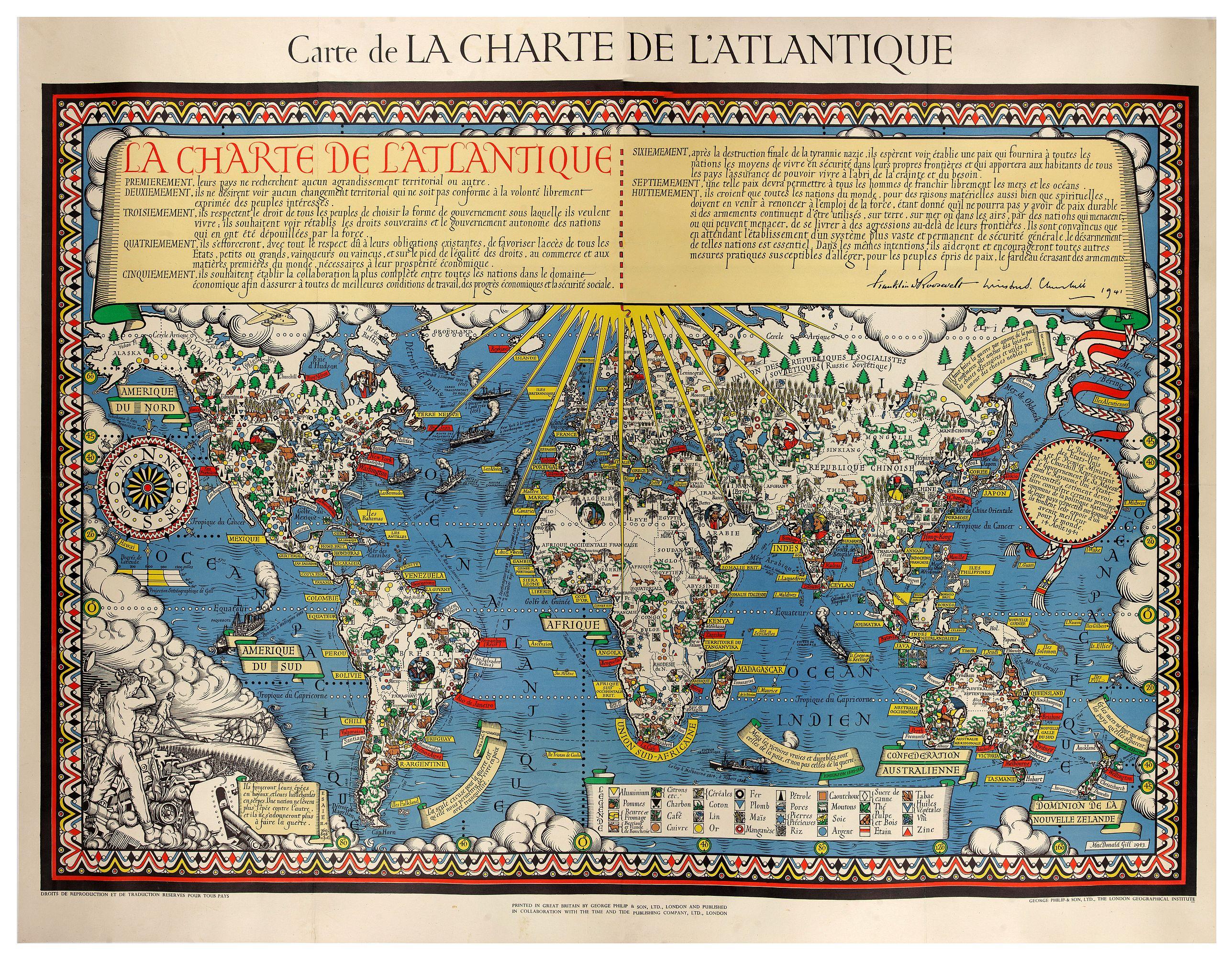 MACDONALD GILL, L. -  Carte de la Charte de L'Antique . . .