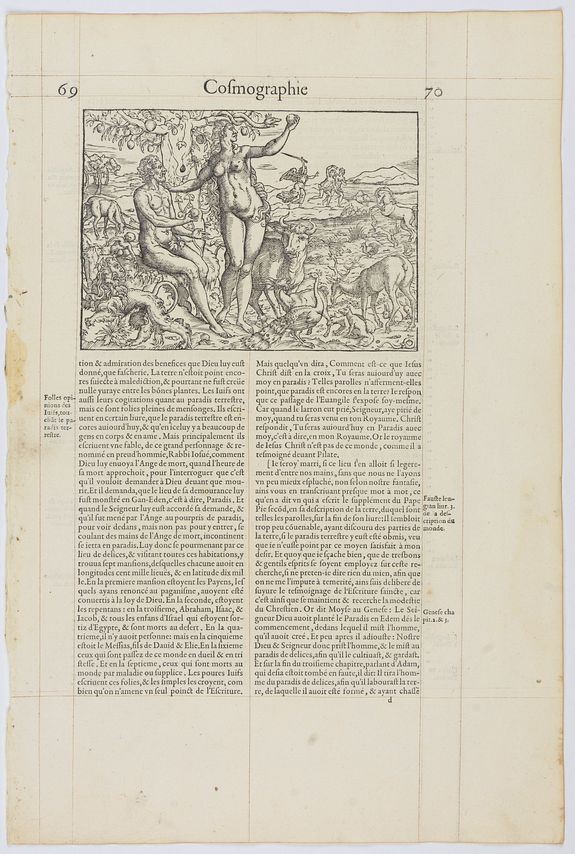 DE BELLE-FOREST, F. -  Page from La Cosmographie Universelle . . . (Page 70)