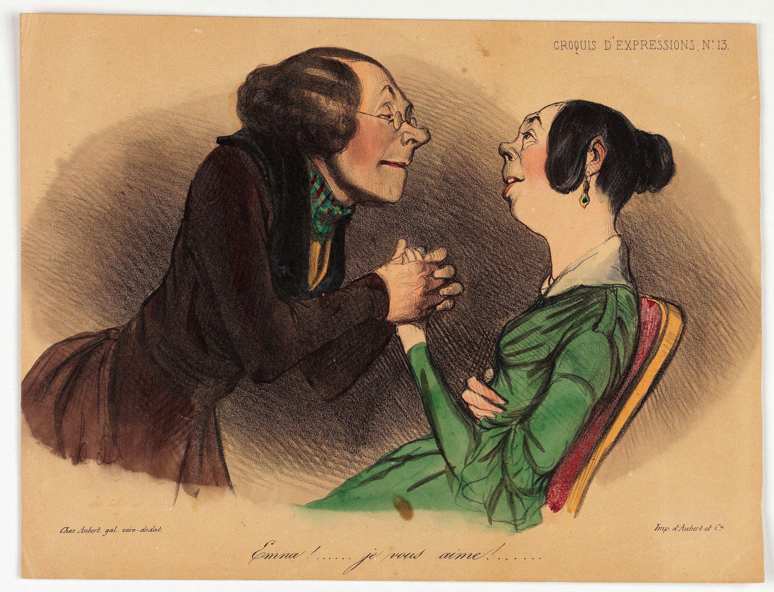 DAUMIER, H. -  Croquis d'expression. Emma! … je vous aime!... (Plate 13)