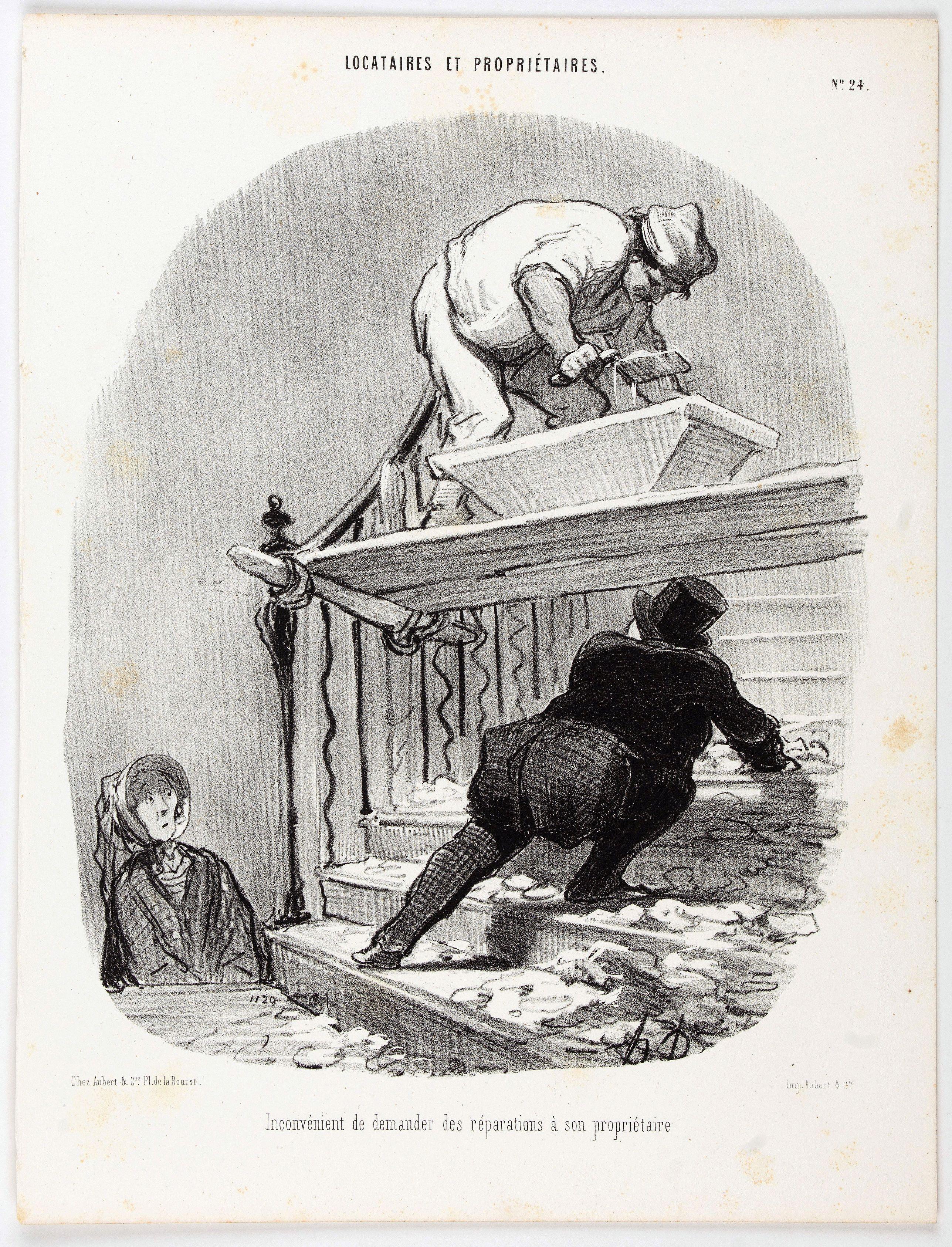 DAUMIER, H. -  Locataires et Propriétaires. Inconvénient de demander des réparations à son propriétaire. (Pl 24)