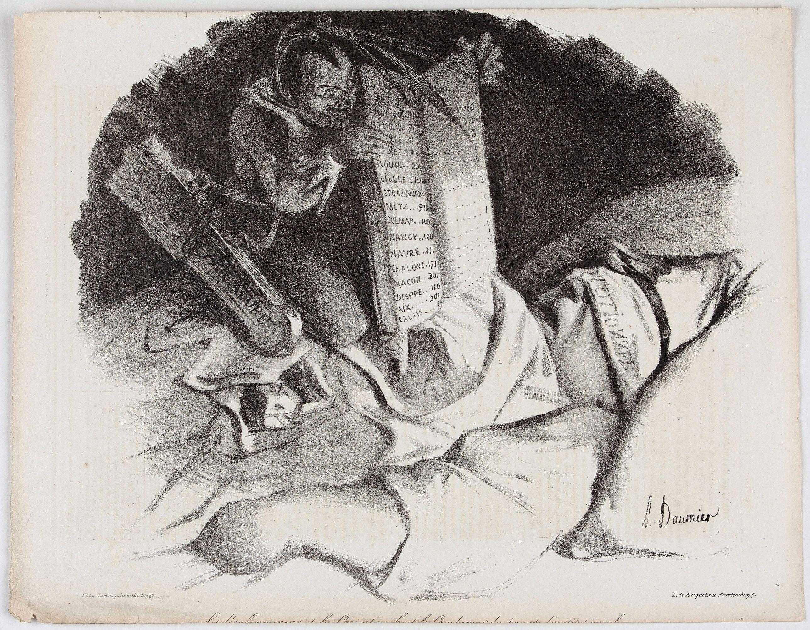 DAUMIER, H. -  Les désabonnemens et la caricature font le cauchemar du pauvre constitutionnel.