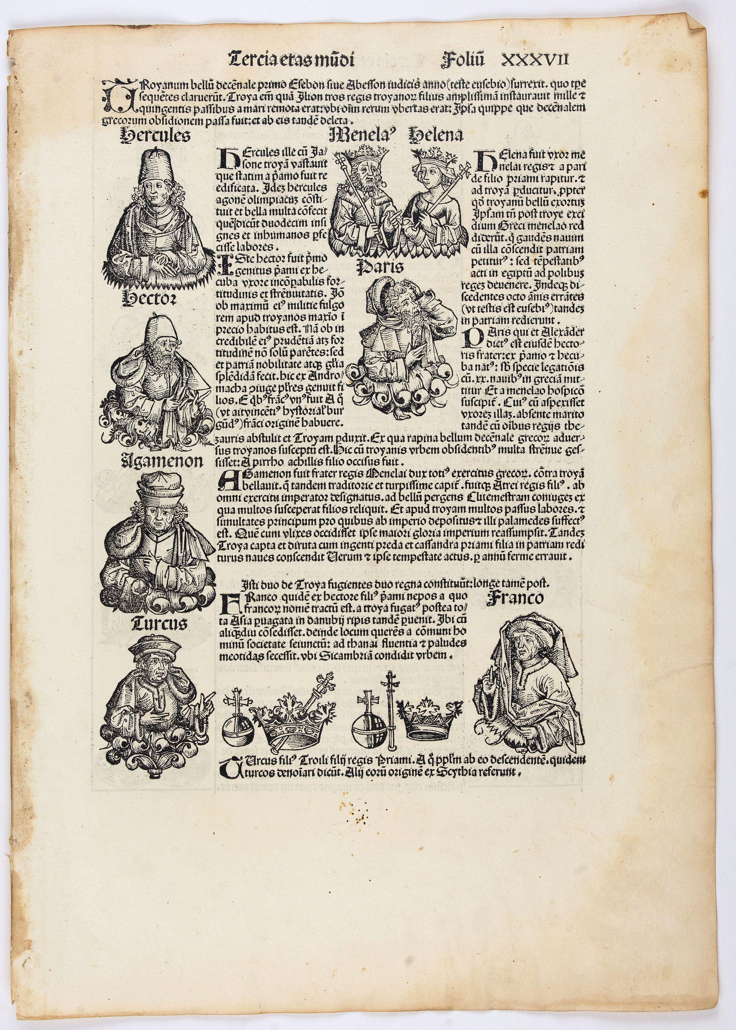 SCHEDEL, H. -  Tercia Etas Mundi. Folium. XXXVII