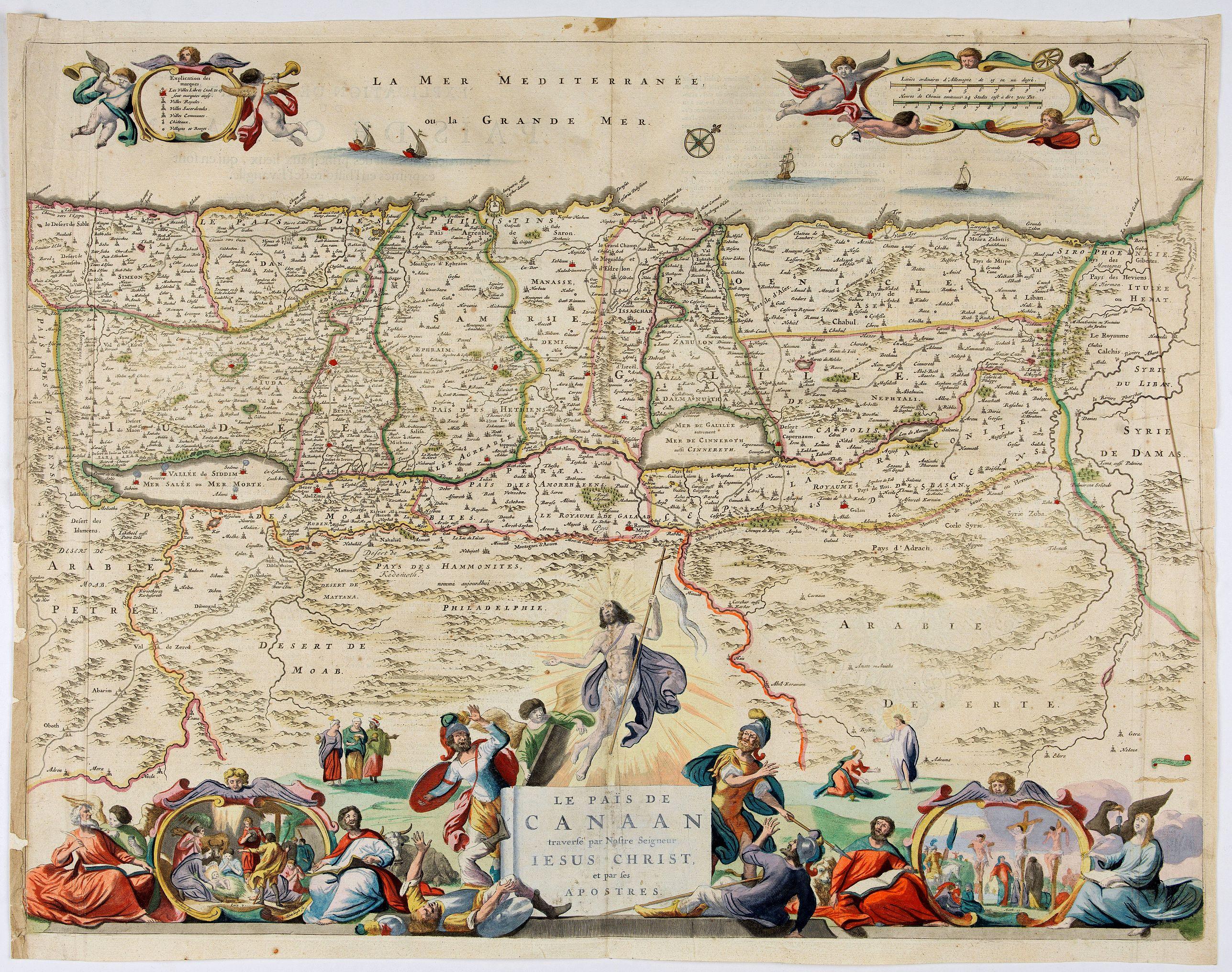 VISSCHER, N. -  Le Païs de Canaan traversé par notre seigneur Iesus Christ et les apostres.