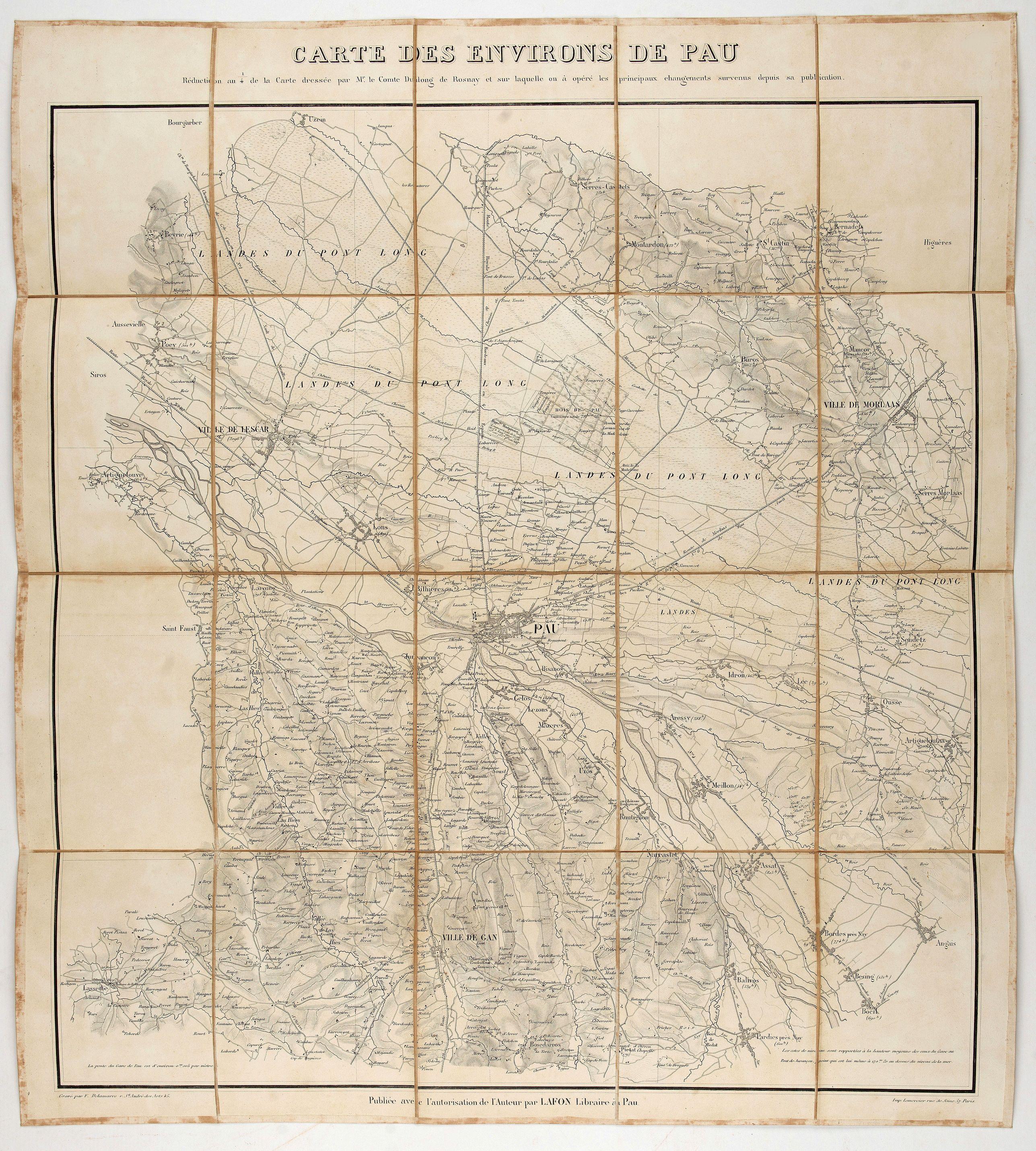 VCOMTE DULONG DE ROSNAY -  Carte des environs de Pau. . .