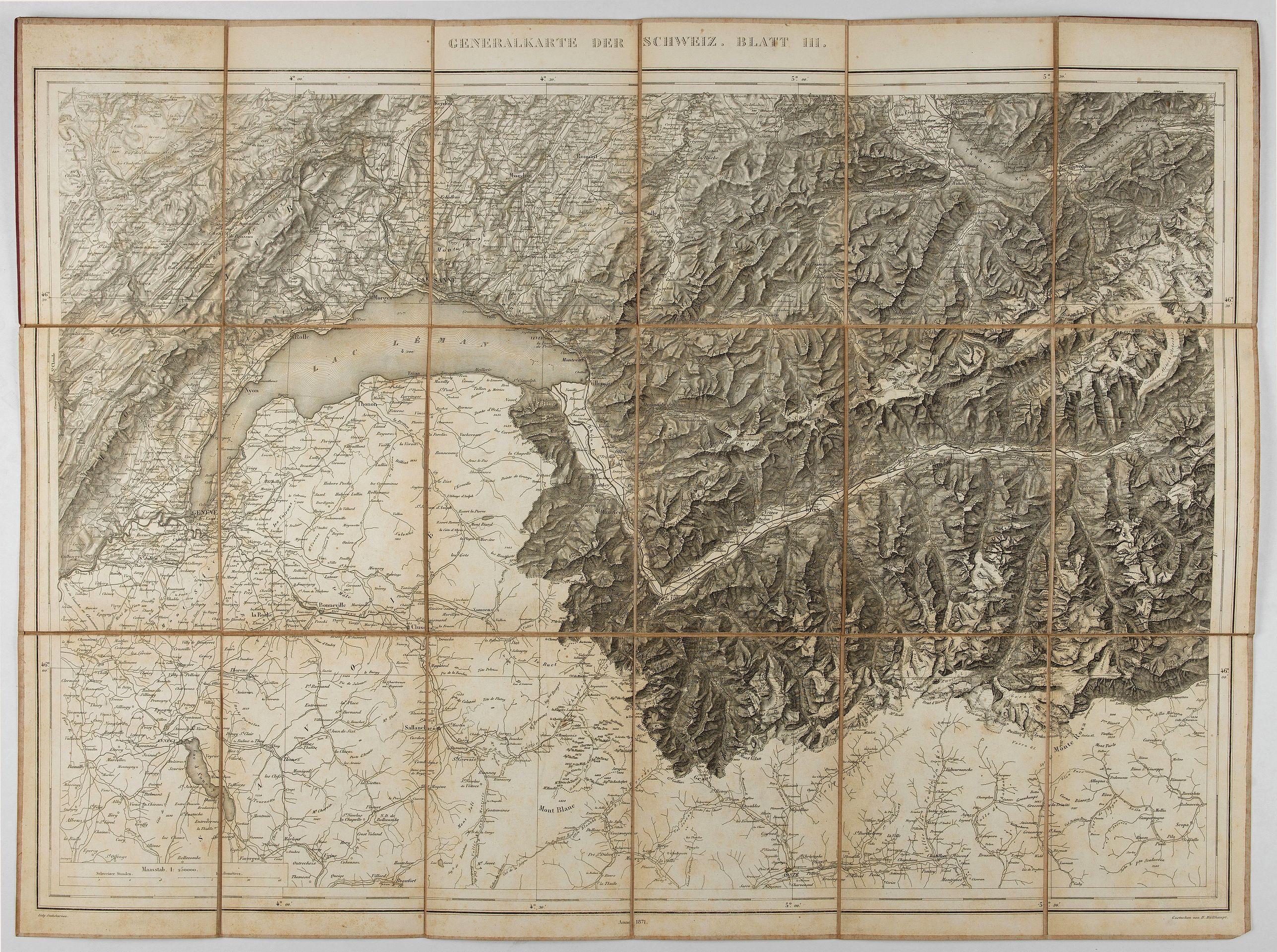 MULLHAUPT, H. -  Generalkarte der Schweiz. Blatt III.