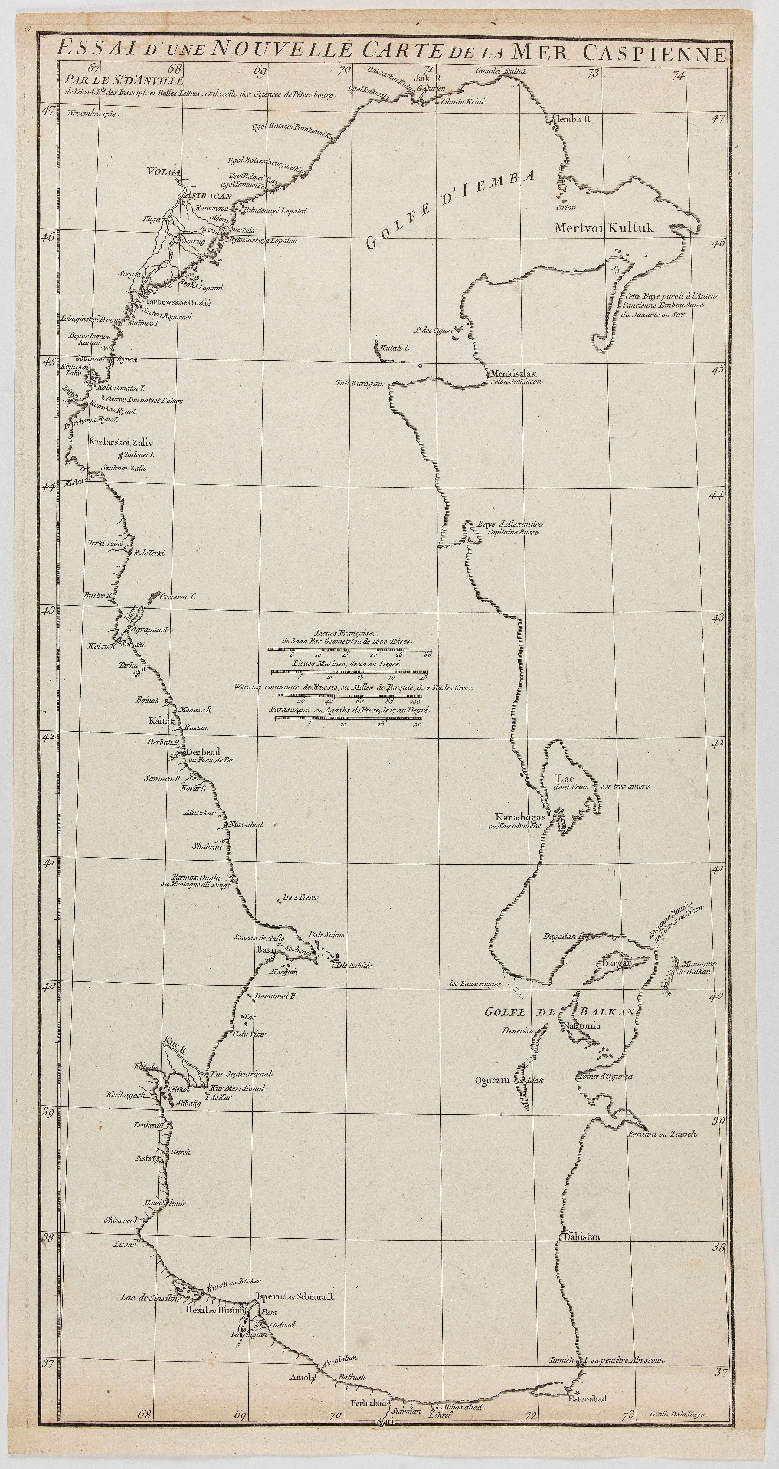 ANVILLE, J.B.D' -  Essai d'une nouvelle carte de la Mer Caspienne.