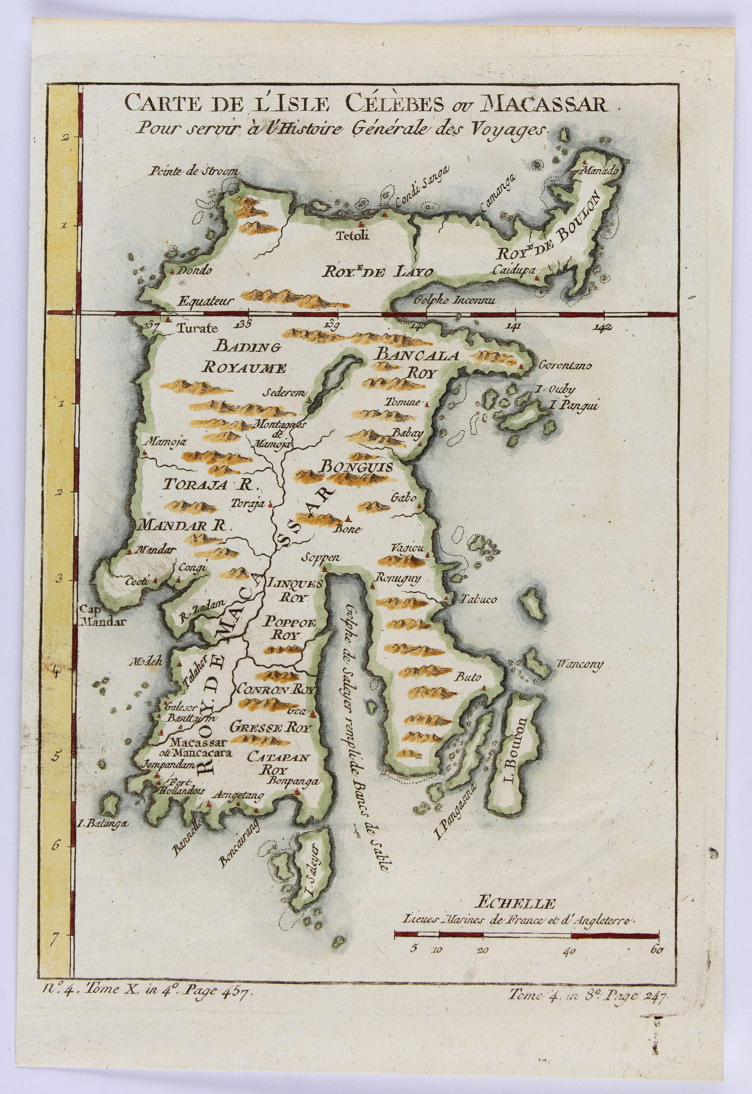 BELLIN, N. -  Carte de L'Isle Celebes ou Macassar.