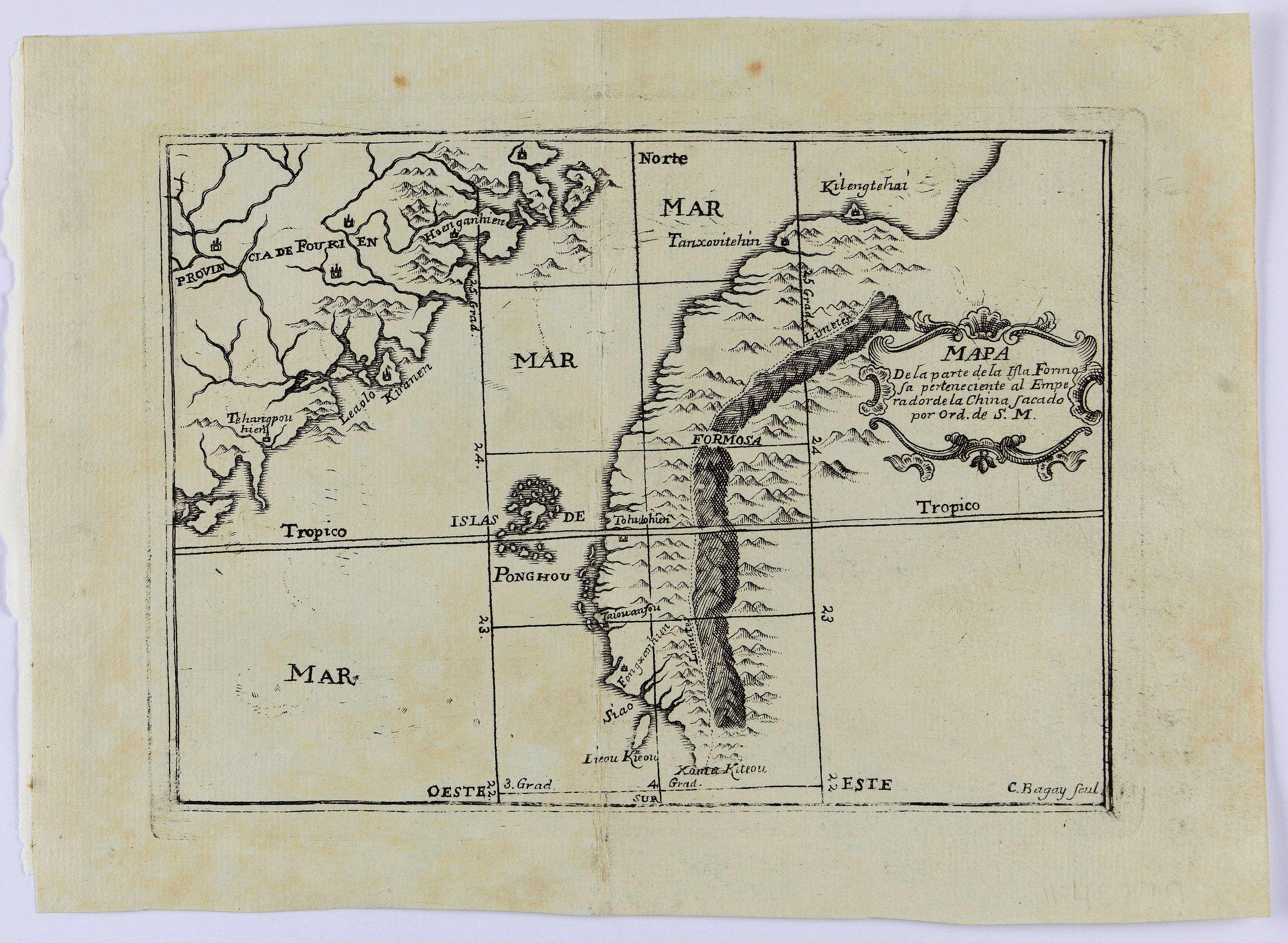 BAGAY, C. -  Mapa De la parte de la Isla Formosa sa perteneciente al Emperadotde la China sacado por Ord. De S.M.