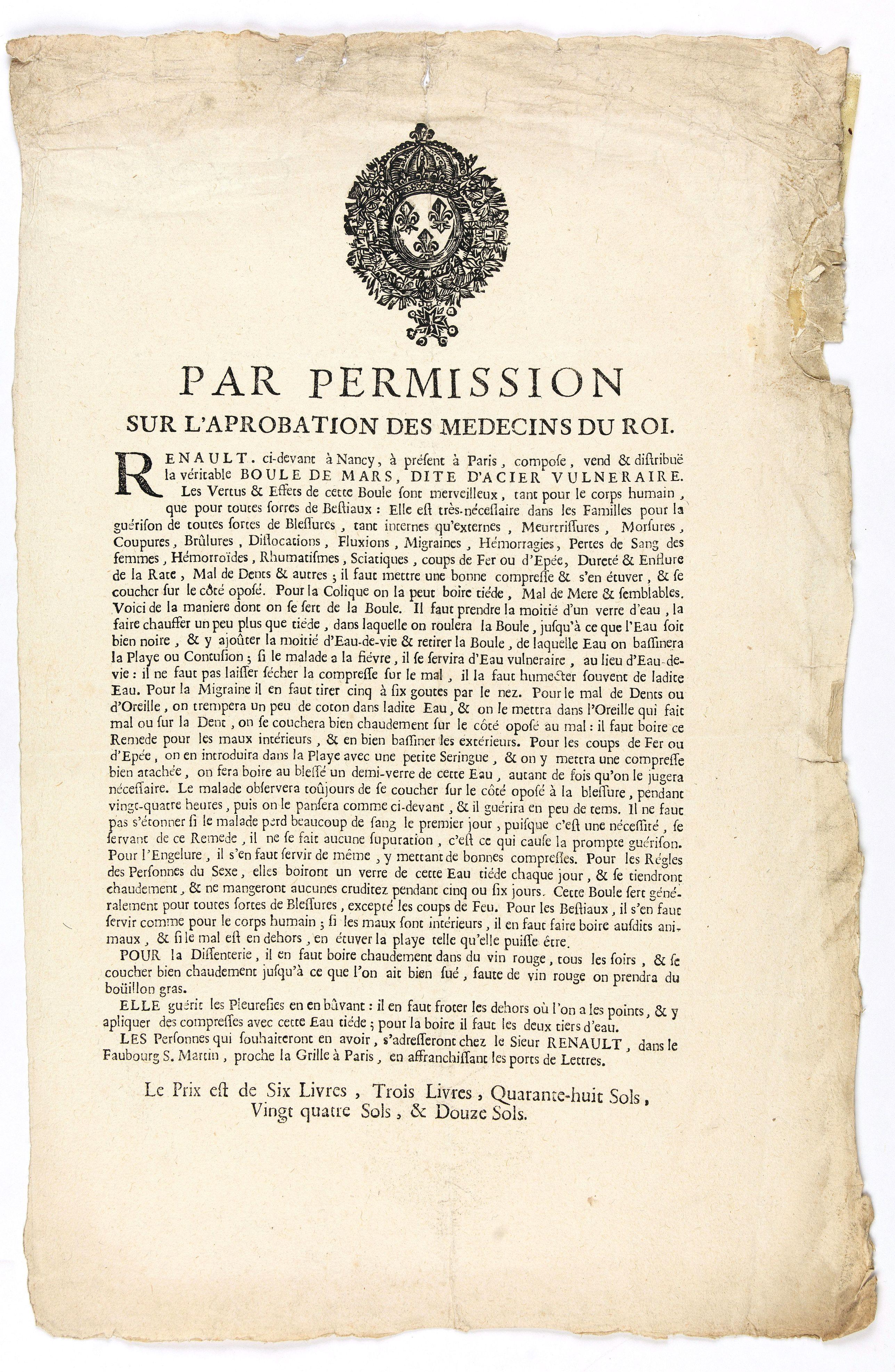 Advertising placard for the  -  Par permission sur l'aprobation des médecins du roi...la véritable Boule de Mars…