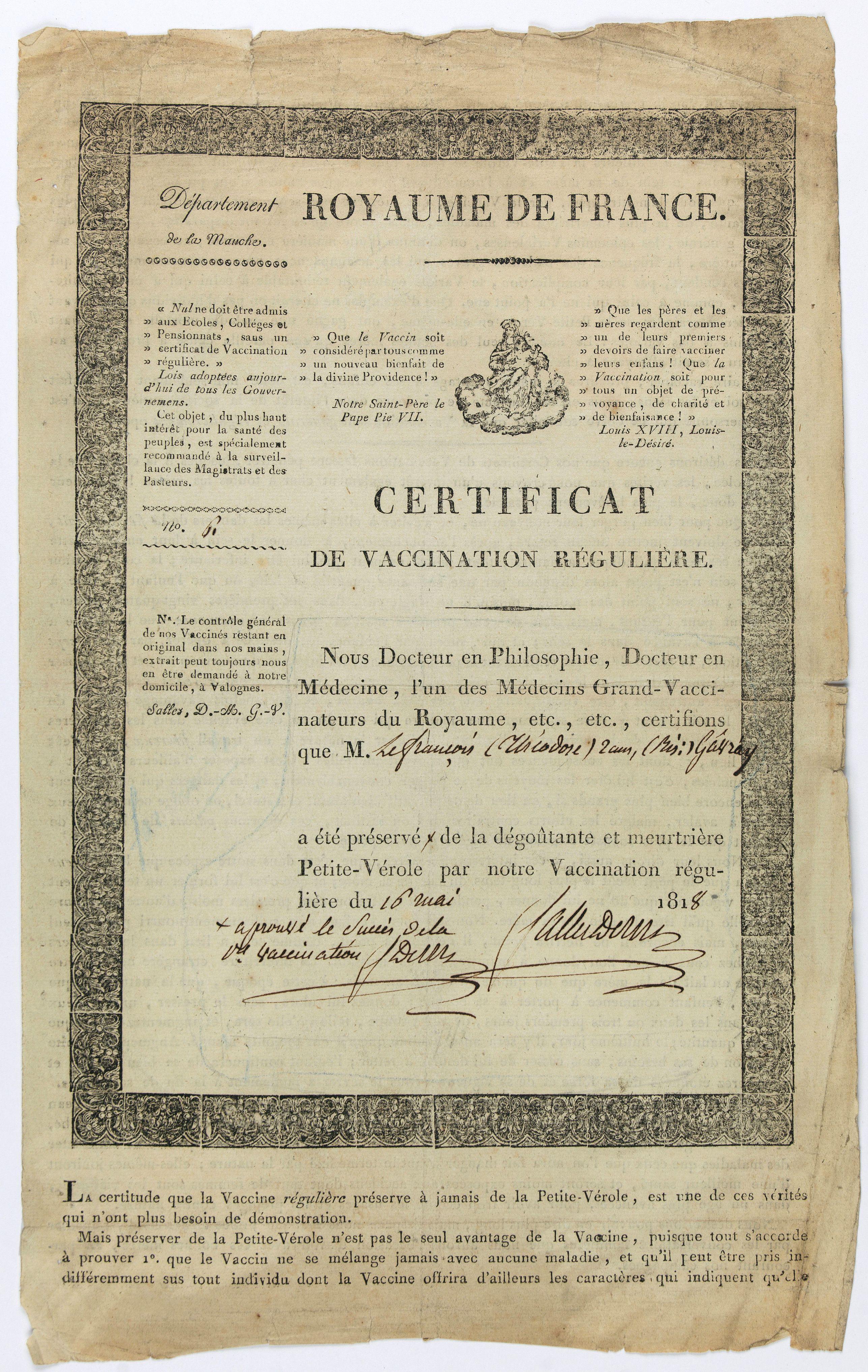 Royaume de France. -  Certificat de vaccination régulière, N°61 (Certificate of regular vaccination).