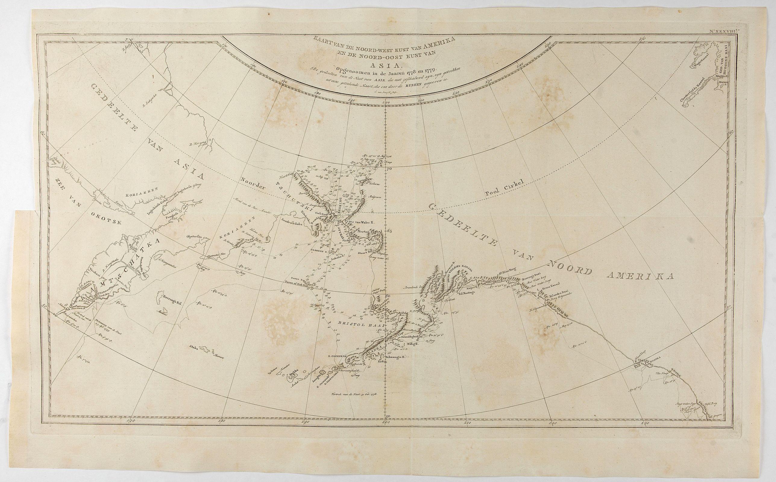 COOK, J. -  Kaart van de Noord-West kust van Amerika en de Noord-Oost kust van Asia. . .