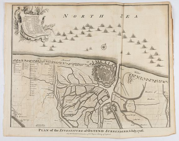 RAPIN / TINDAL. -  Plan of the Investiture of Ostend Surrenderd, 6 July, 1706