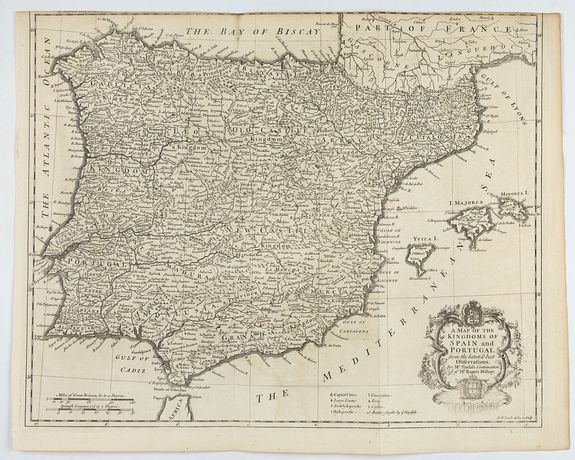 RAPIN / TINDAL. -  A mapof the Kingdom of Spain and Portugal from the latest & best Observations. . .