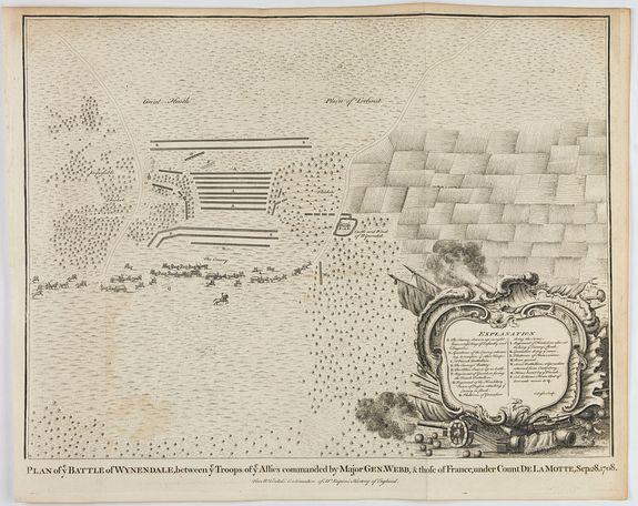 RAPIN / TINDAL. -  Plan of ye Battle of Wynendale between ye Troops of ye Allies commanded by Major Gen. Webb & those of France under Count de La Motte Sept. 28 1708.