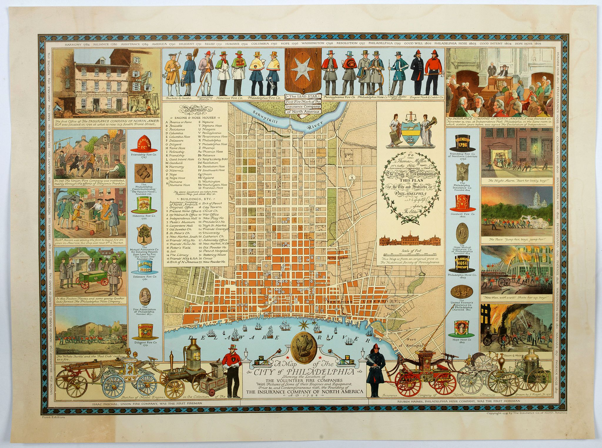 THE INSURANCE COMPANY OF NORTH AMERICA. - A Map of the City of Philadelphia, showing the Location of the Volunteer Fire Companies. . .