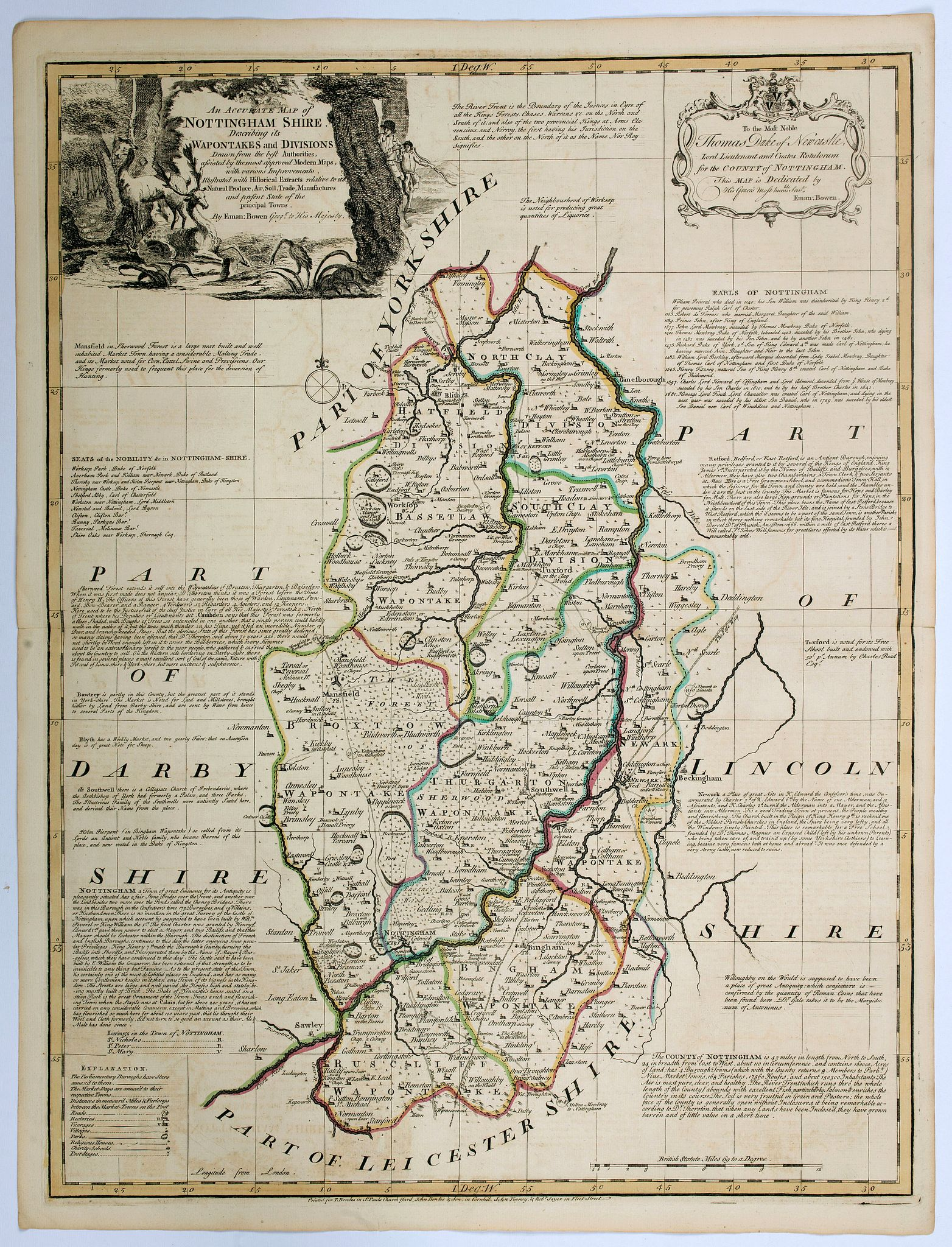 BOWEN, E / KITCHIN, T. - An Accurate Map of Nottingham Shire divided into its Wapontakesand Divisions drawn from the best Authorities . . .