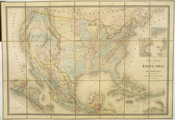 VUILLEMIN, A. / ANDRIVEAU-GOUJON, E. -  Carte Générale Des Etats - Unis Et Du Mexique Comprenant L'Amerique Centrale Et Les Antilles.