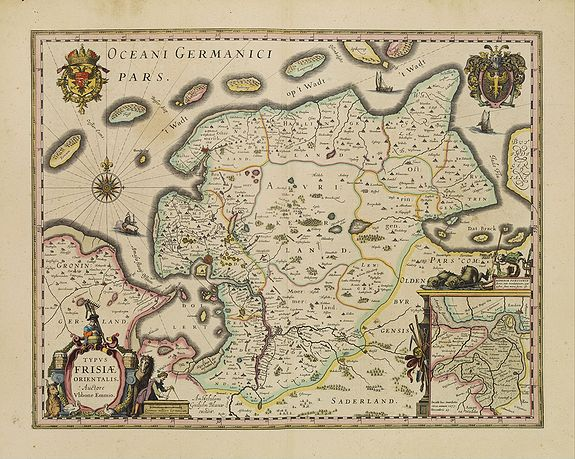 BLAEU, W.,  Typus Frisiae Orientalis., antique map, old maps