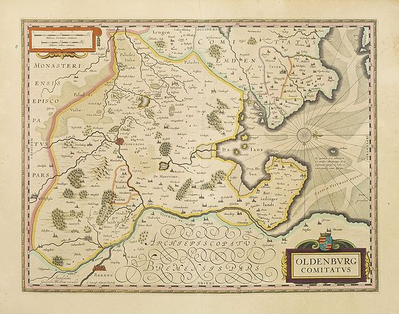 BLAEU, W.,  Oldenburg Comitatus., antique map, old maps