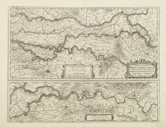 HONDIUS, H. -  Descriptio fluminum Rheni, Vahalis et Mosae.