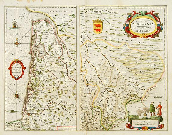 BLAEU, W. / J. -  Principatus BENEARNIA. La principauté de BEARN.