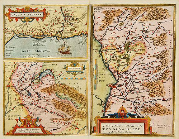 ORTELIUS, A. -  Venuxini Comitatus Nova Descr. / Gallia Narbonensis. / Sabaudiae Ducat.