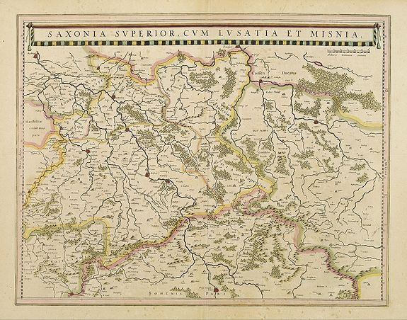 BLAEU, J.,  Saxonia superior, cum Lusatia et Misnia., antique map, old maps