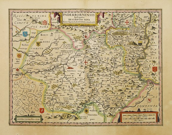 BLAEU, W.,  Paderbornensis Episscopatus Descriptio Nova., antique map, old maps