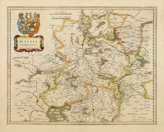 BLAEU, W.,  Hassia Landgraviatus., antique map, old maps