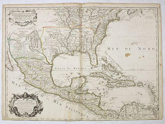L'ISLE, G. de. -  Carte du Mexique et de la Floride des Terres Angloises et des Isles Antilles…