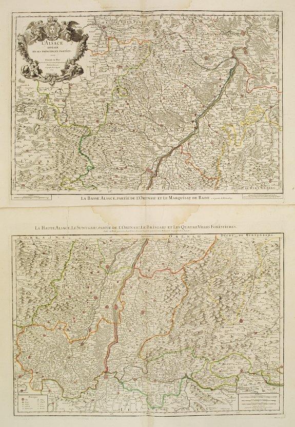 JAILLOT, H. -  (Set of 2 maps) L'Alsace divisée en ses pincipales parties.