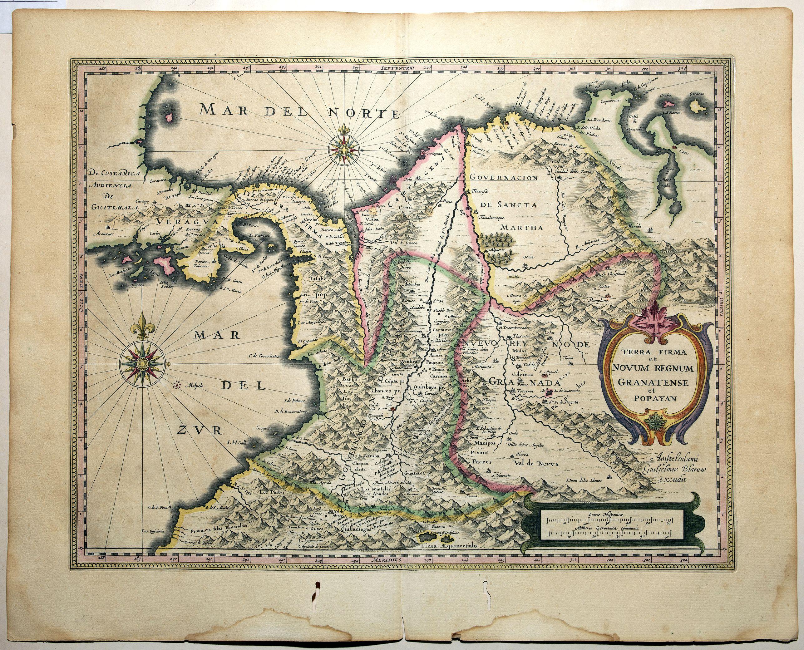 BLAEU, W. - Terra Firma et Novum Regnum Granatense et Popayan.