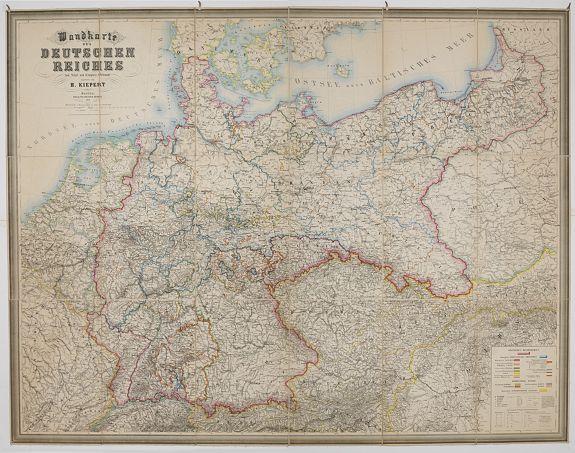 KIEPERT, H. -  Wandkarte des Deutsches Reiches zum Schul und Comptoir-Gebrauch. . .