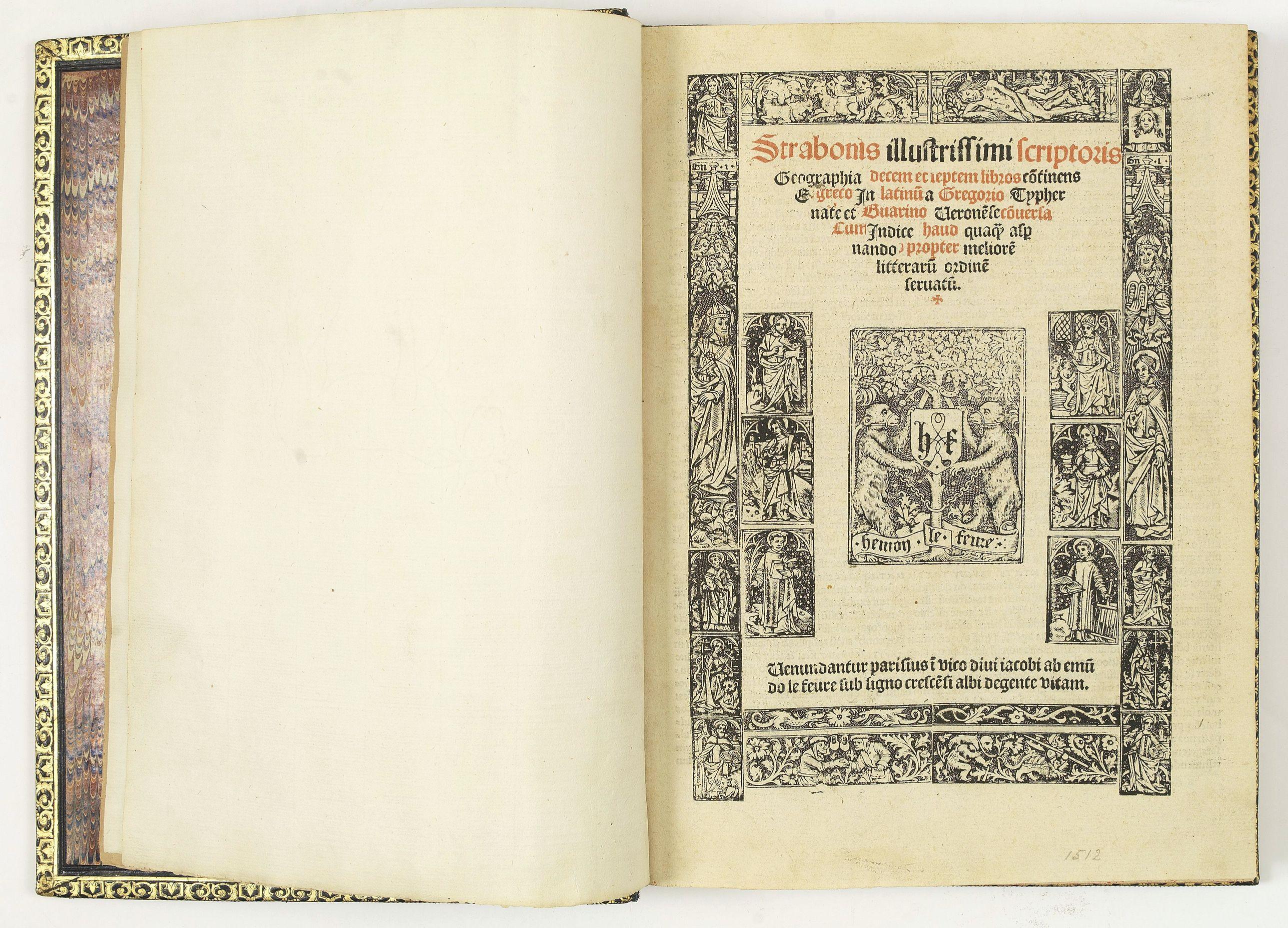 STRABO. -  Strabonis illustrissimi scriptoris Geographia decem et septem libros continens.