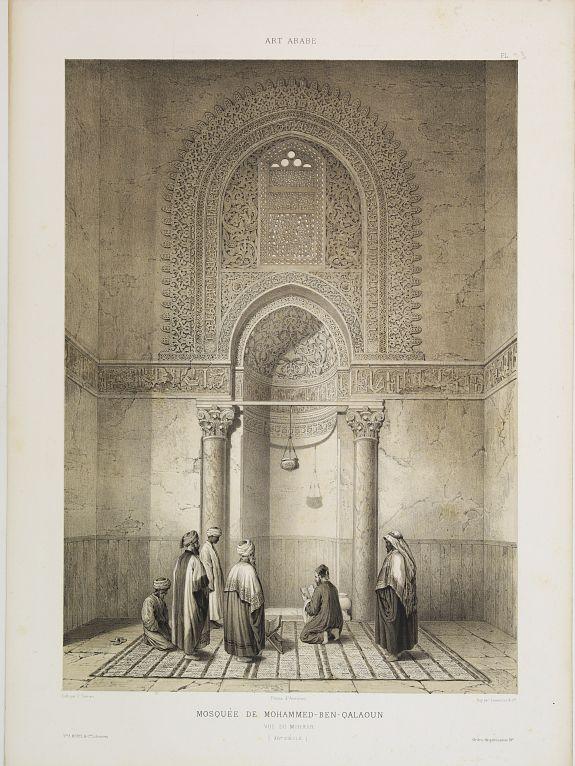 PRISSE D'AVENNES, E. -  Mosquée de Mohammed Ben Qalaoûn. Vue du Mihrab. (XIVe. siècle)