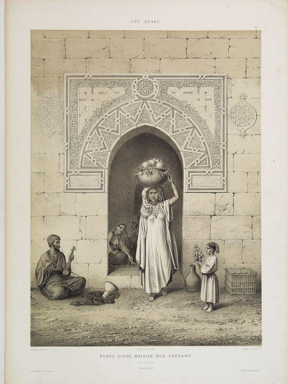 PRISSE D'AVENNES, E. -  Porte d'une Maison Rue Chérawy. Au Kaire. (XIVe. siècle)