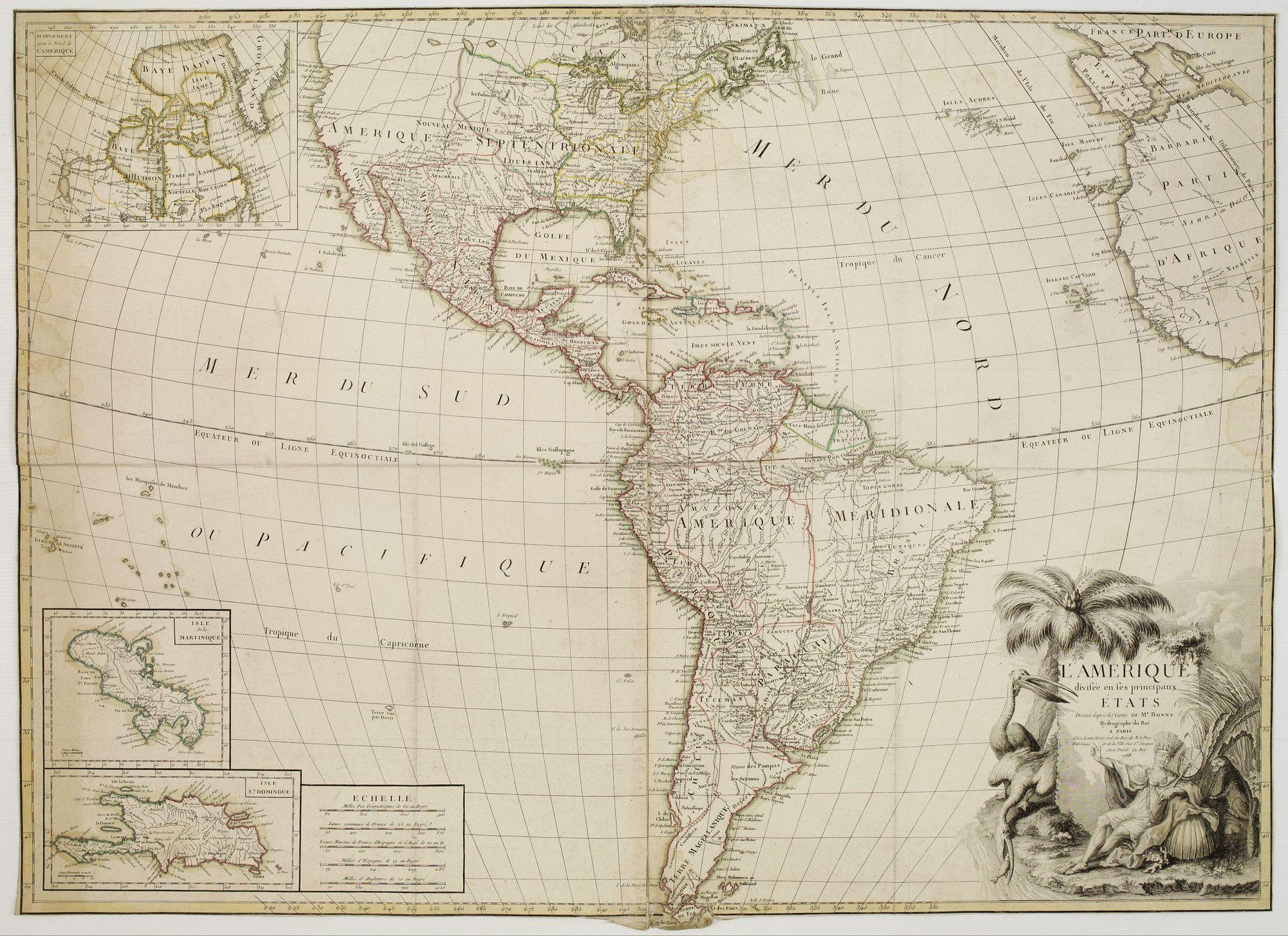 BONNE, R. / LATTRÉ, J. -  L'Amérique divisée en ses principaux Etats Dressée d'après les Cartes de Mr. Bonne?
